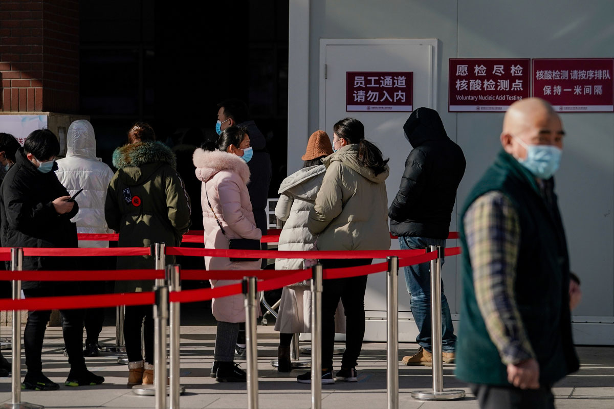 People line up for a coronavirus test at a hospital in Beijing on January 17.