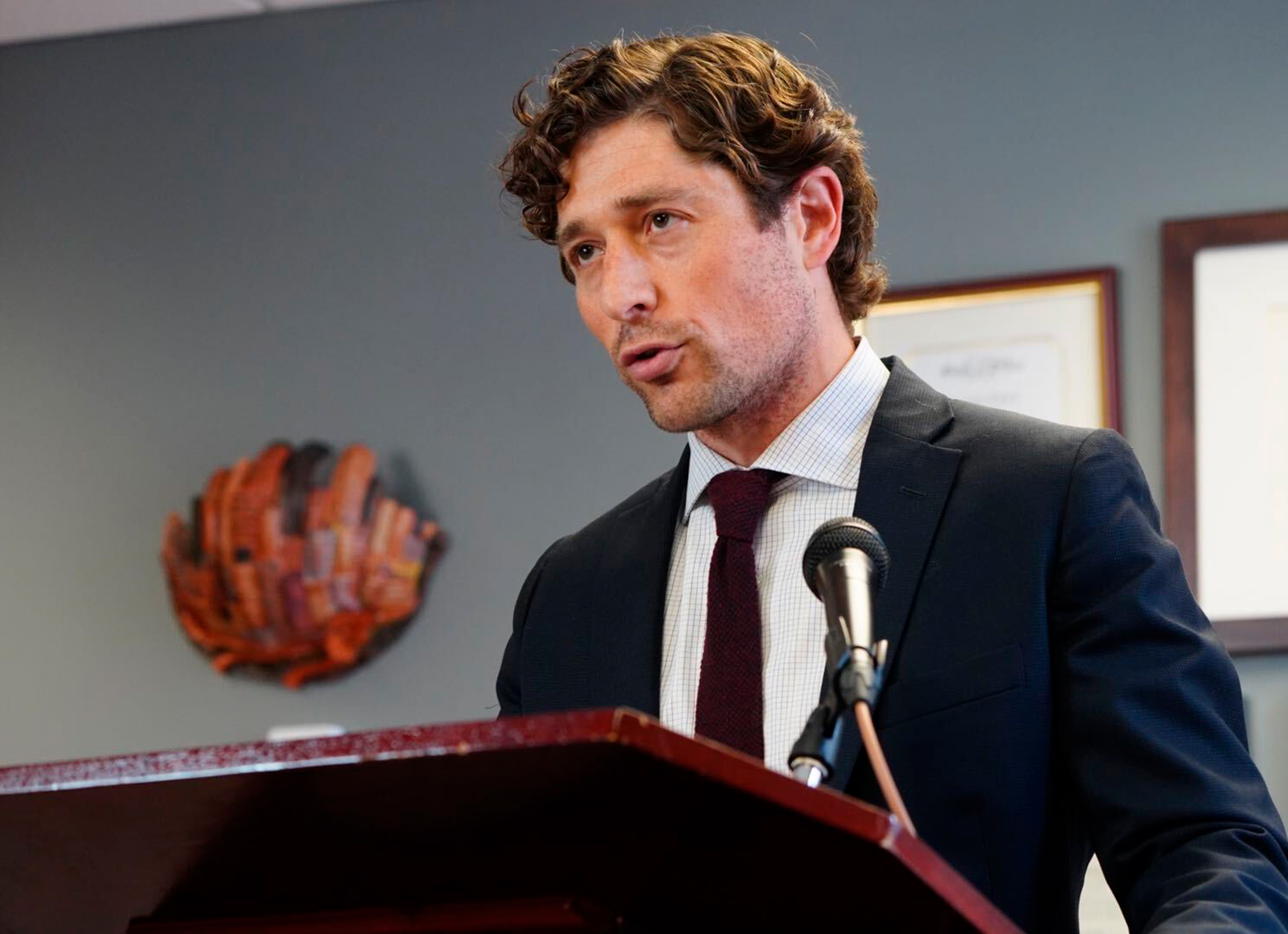 Minneapolis Mayor Jacob Frey speaks during a news conference at City Hall in Minneapolis on May 27, 2020.