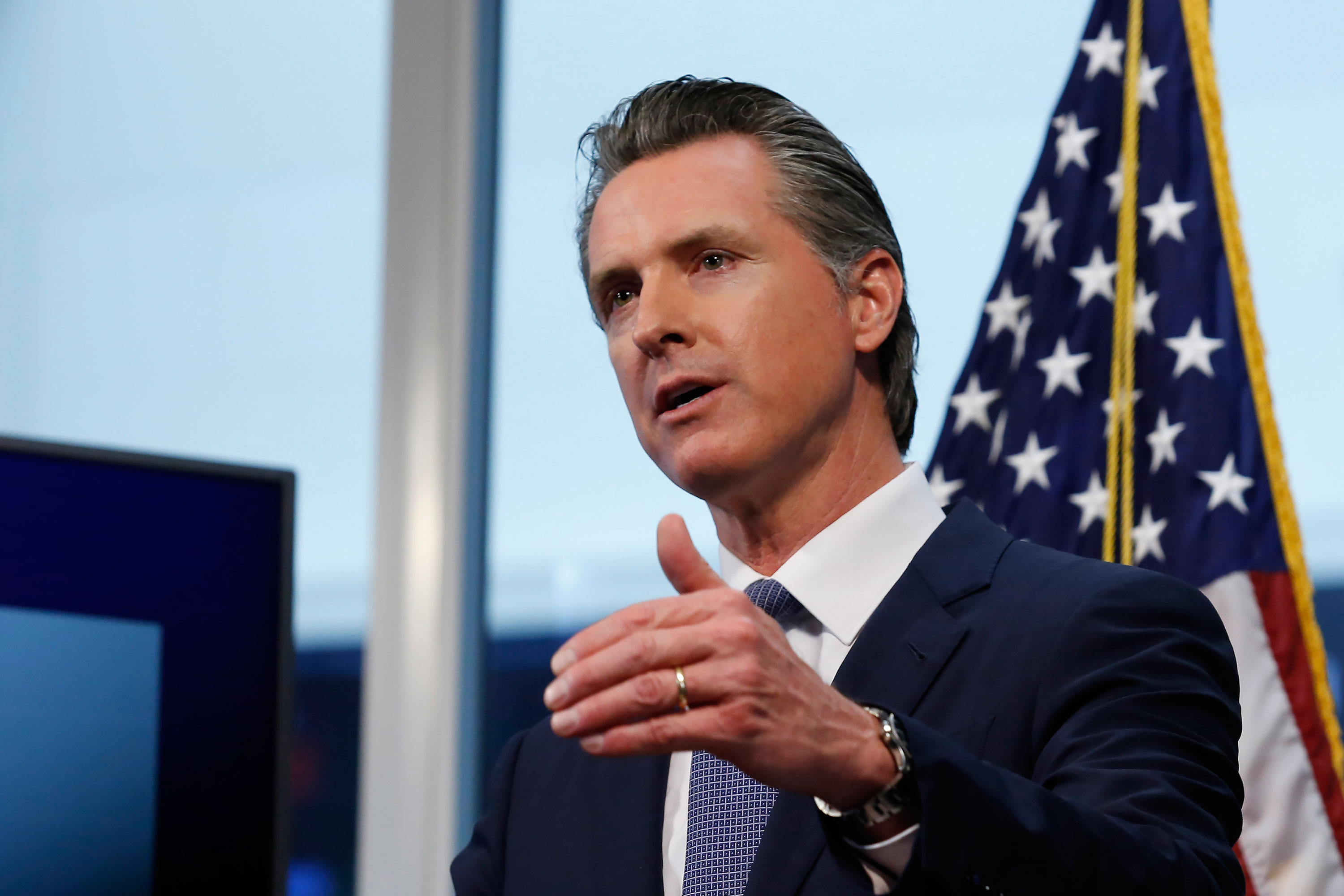 Gov. Gavin Newsom speaks at a news conference in Rancho Cordova, California on April 1.