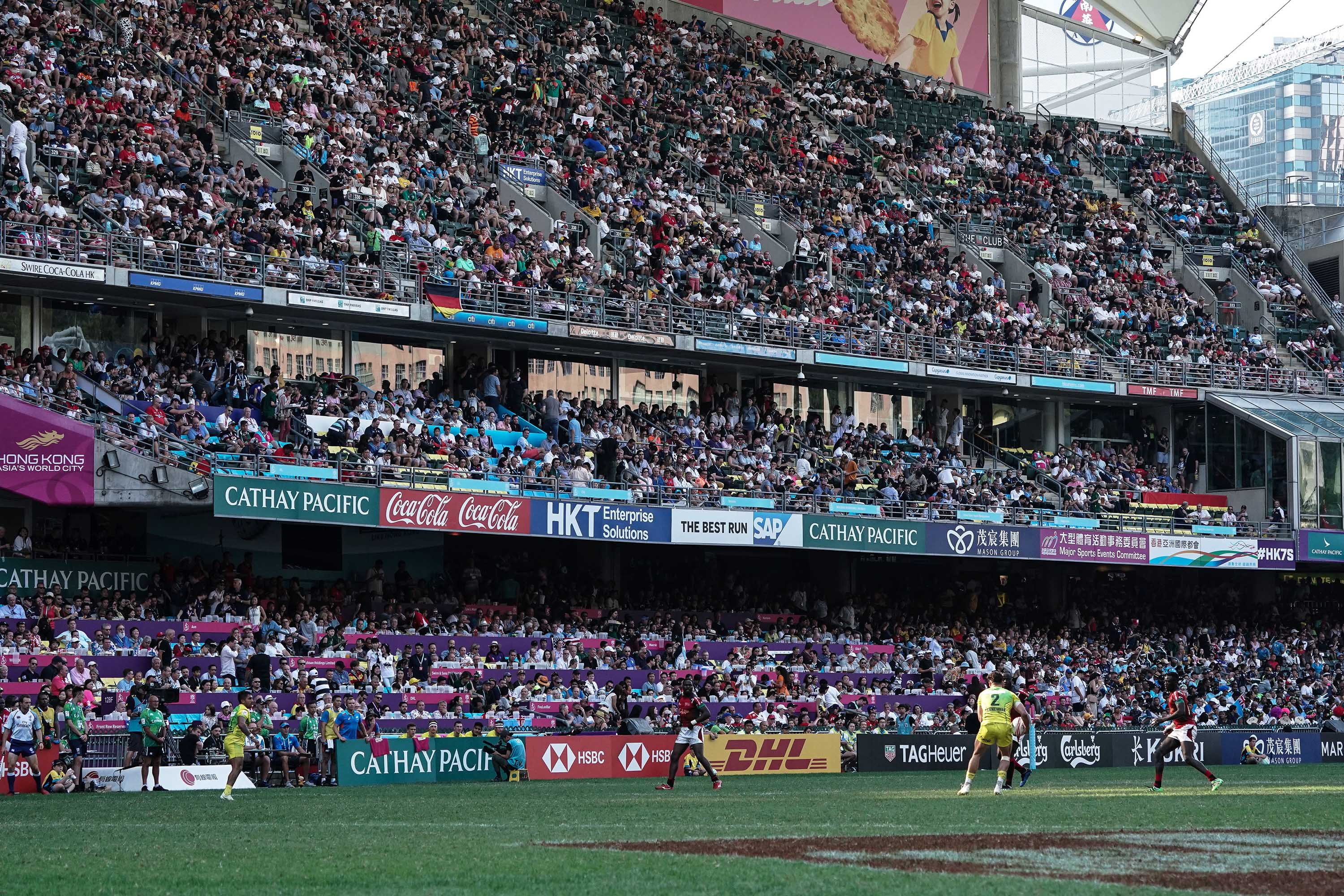 A match between Australia and Kenya is played during the Rugby Sevens in Hong Kong in April 2019.