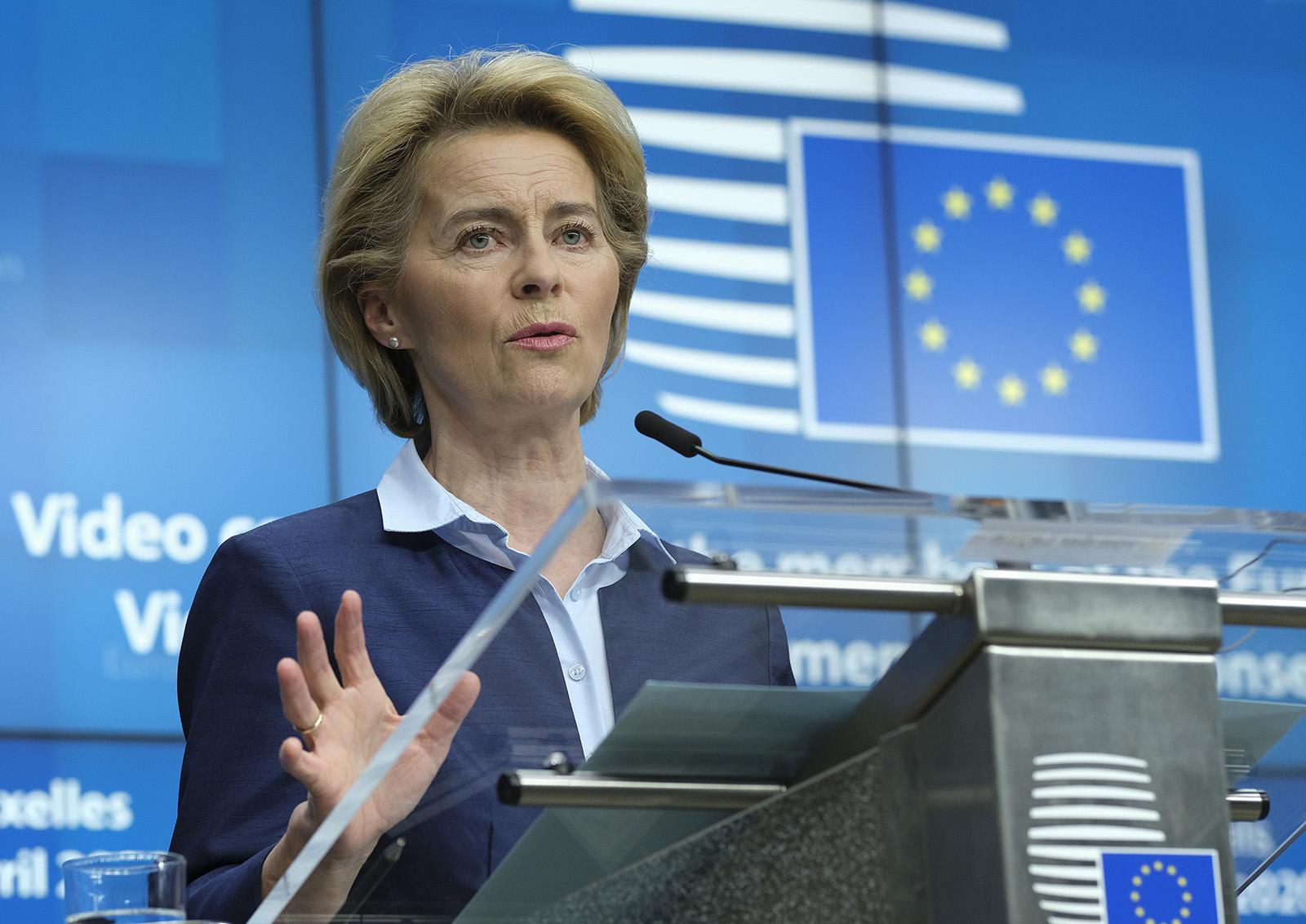 European Commission President Ursula von der Leyen speaks during a news conference in Brussels, Belgium, on April 23.