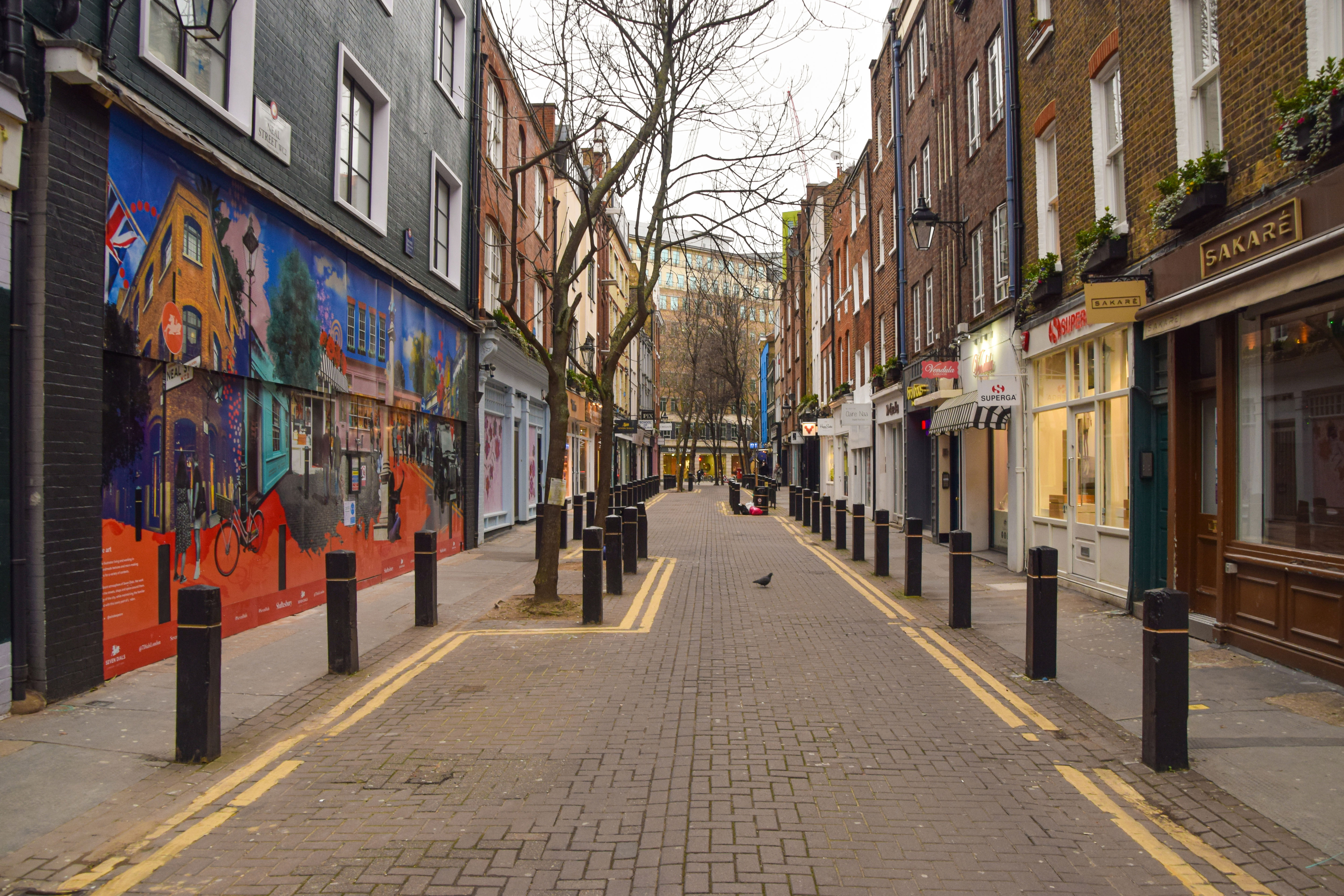 Neal Street in London's Covent Garden is empty on February 14.