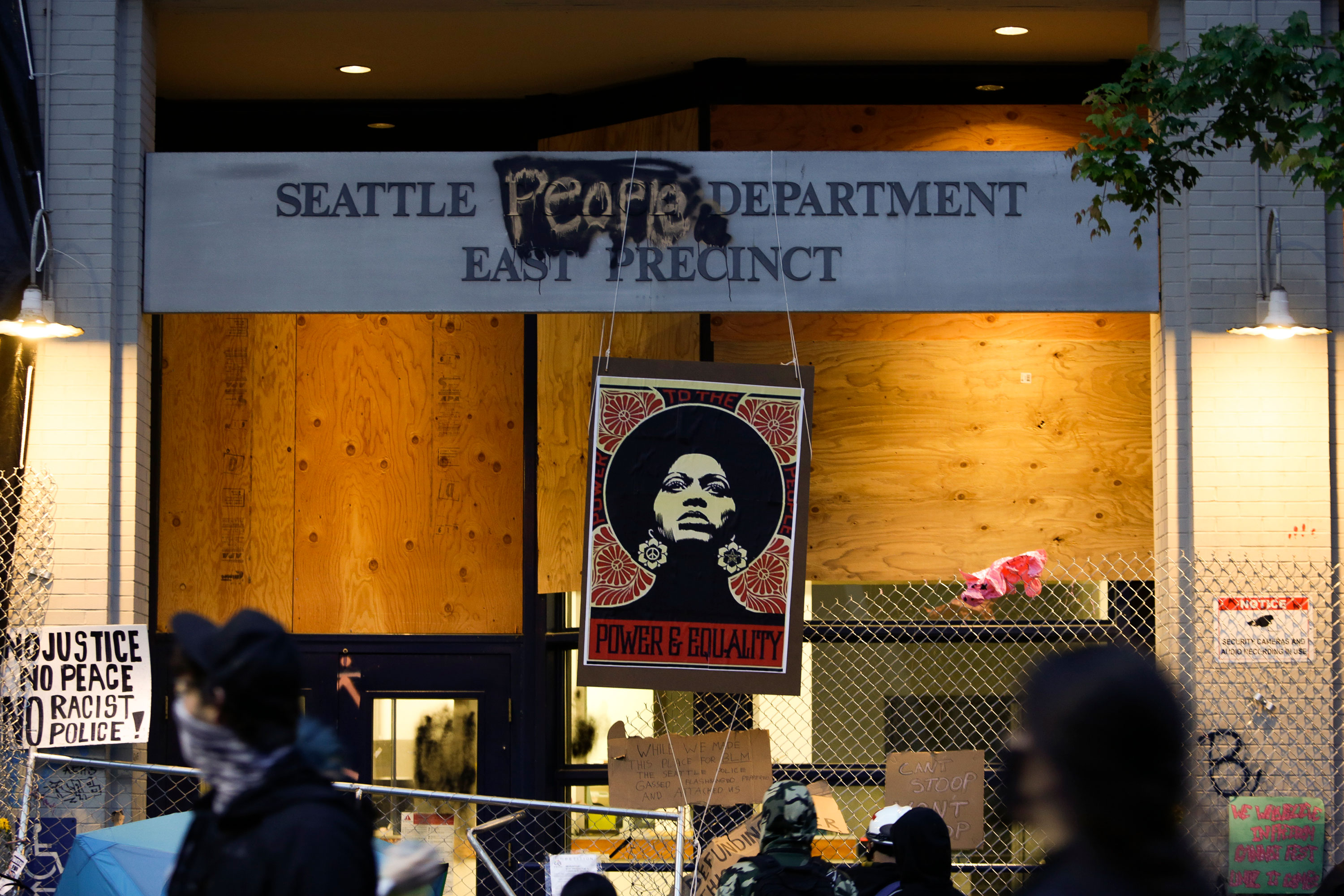 The vacated Seattle Police Department's East Precinct is seen in the area known as the Capitol Hill Autonomous Zone on June 12 in Seattle, Washington.