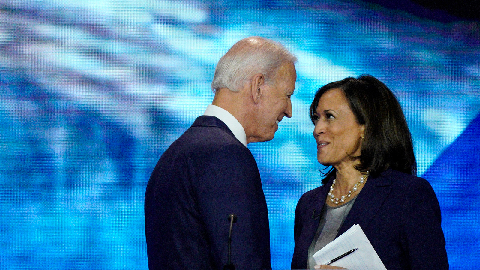 Democratic presidential candidate former Vice President Joe Biden and Sen. Kamala Harris shake hands on Thursday, September 12, 2019, after a debate hosted by ABC at Texas Southern University in Houston.
