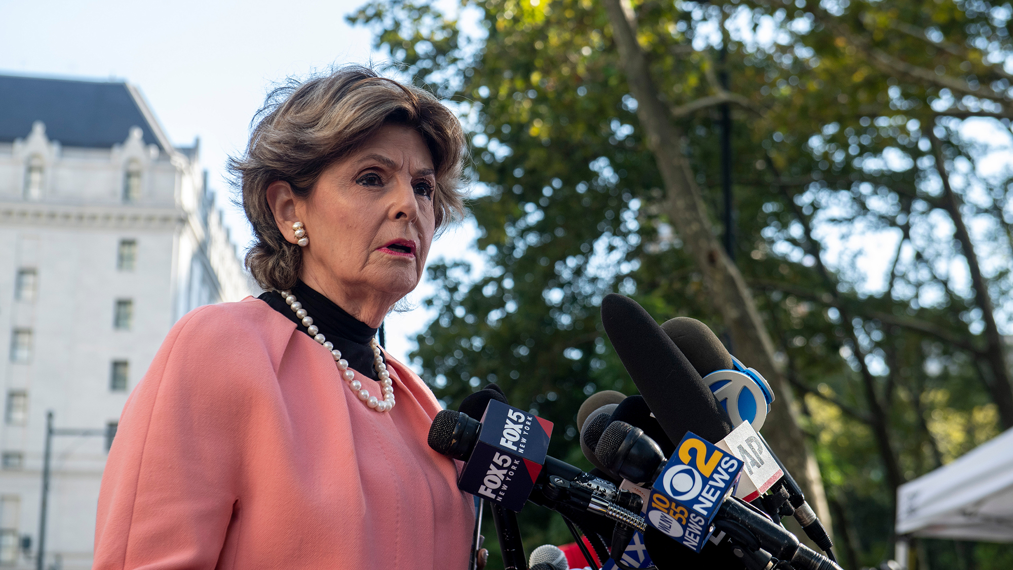 Attorney Gloria Allred speaks to the media at the Brooklyn Federal Courthouse, on Monday, in New York.