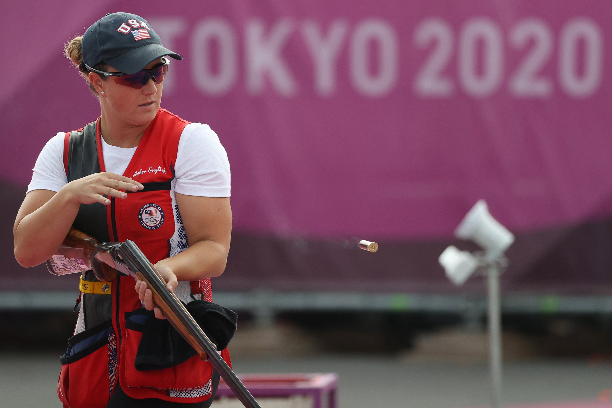 USA's Amber English during the skeet finals on Monday, July 26.