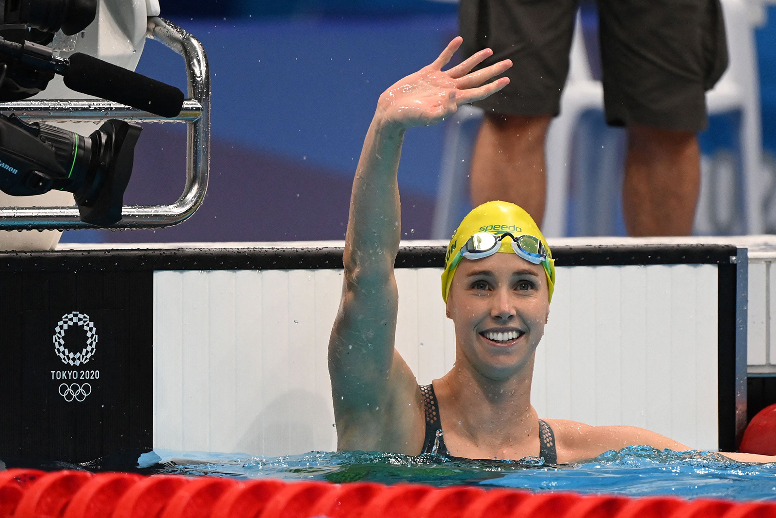 Australia's Emma McKeon celebrates taking gold in the final of the women's 50 meter freestyle on Sunday.