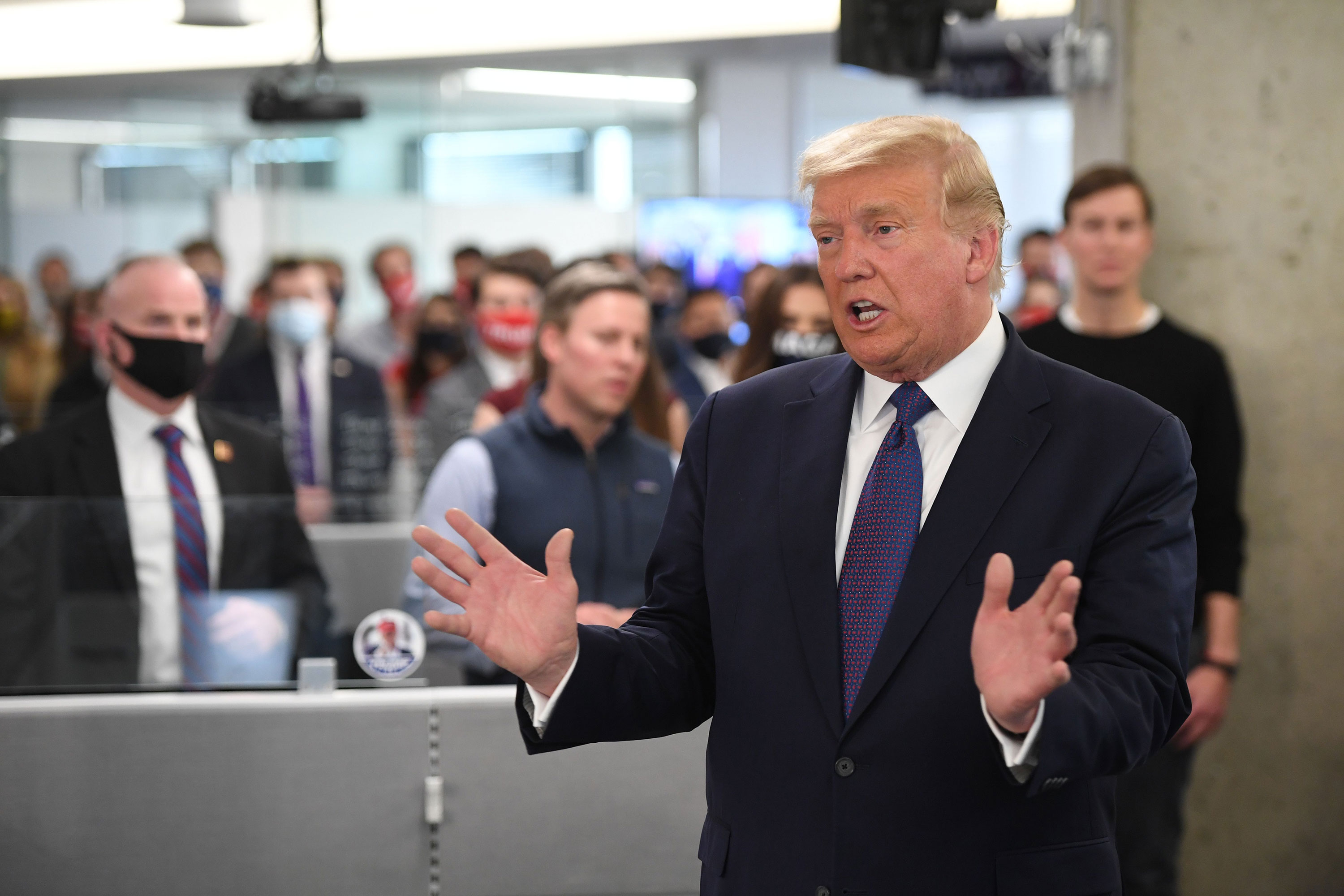 President Donald Trump visits his campaign headquarters in Arlington, Virginia on November 3.
