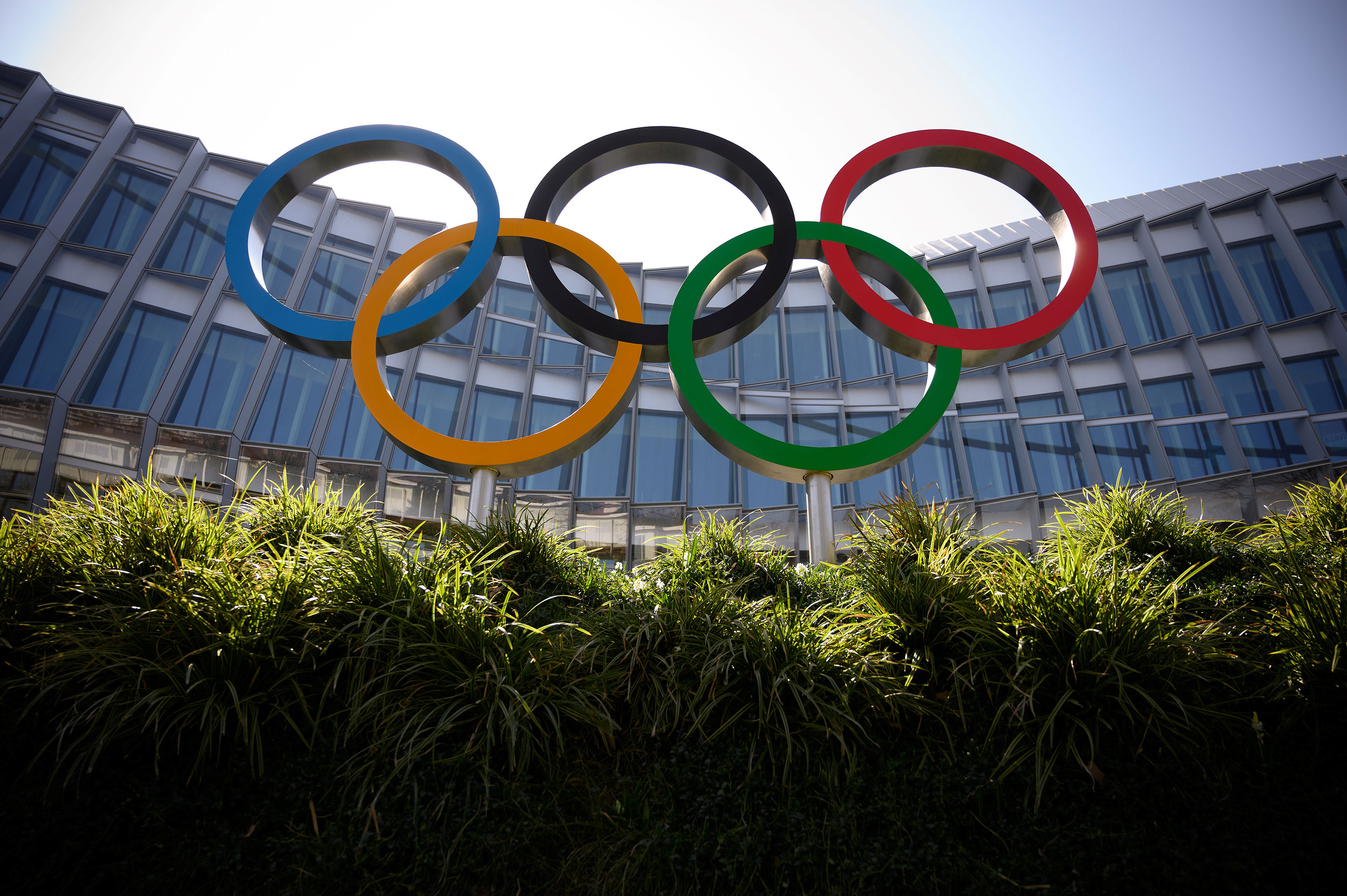The Olympic rings logo is pictured in front of the headquarters of the International Olympic Committee in Lausanne, Switzerland on March 18.