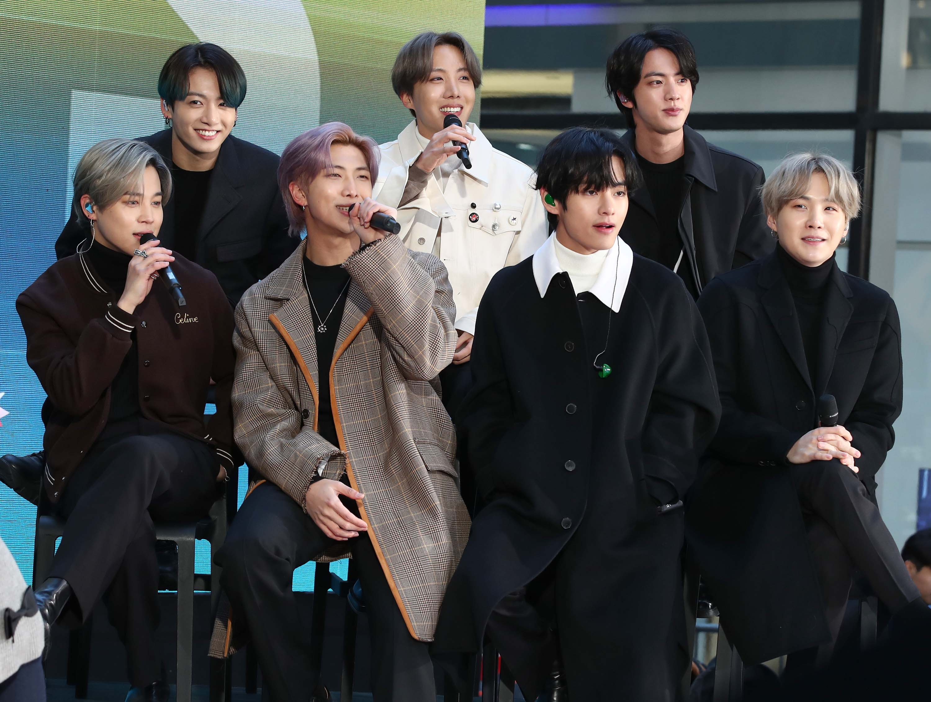"Members of the K-Pop band BTS visit the ""Today"" Show at Rockefeller Plaza on February 21, in New York City."