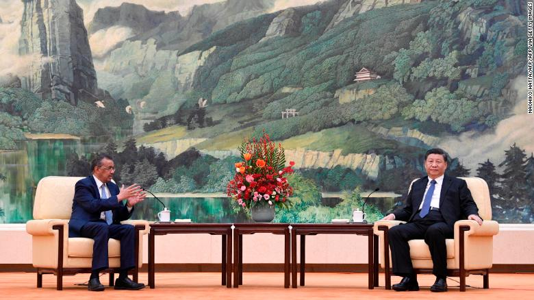 World Health Organization director general Tedros Adhanom Ghebreyesus with Chinese President Xi Jinping in Beijing on January 28, 2020.