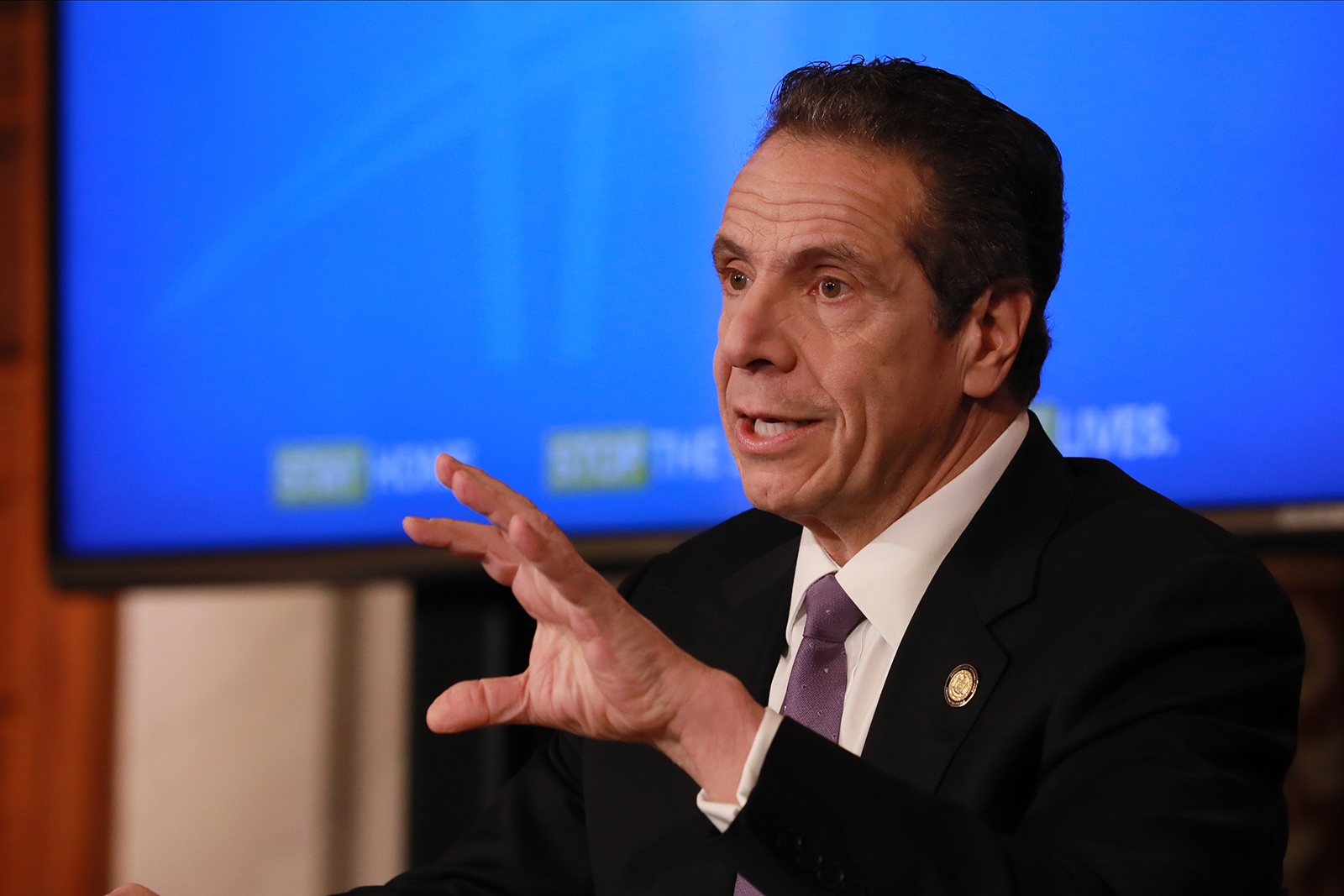 New York Gov. Andrew Cuomo gives his a press briefing about the coronavirus crisis on April 17, in Albany, New York.