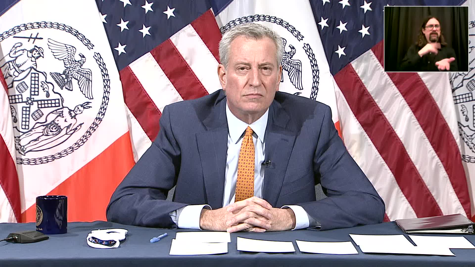 New York City Mayor Bill de Blasio speaks during a press briefing in New York on December 21.