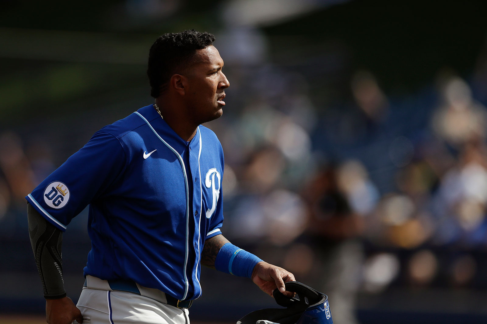 Kansas City Royals catcher Salvador Perez walks towards the dugout during a spring training game in Phoenix on February 27.