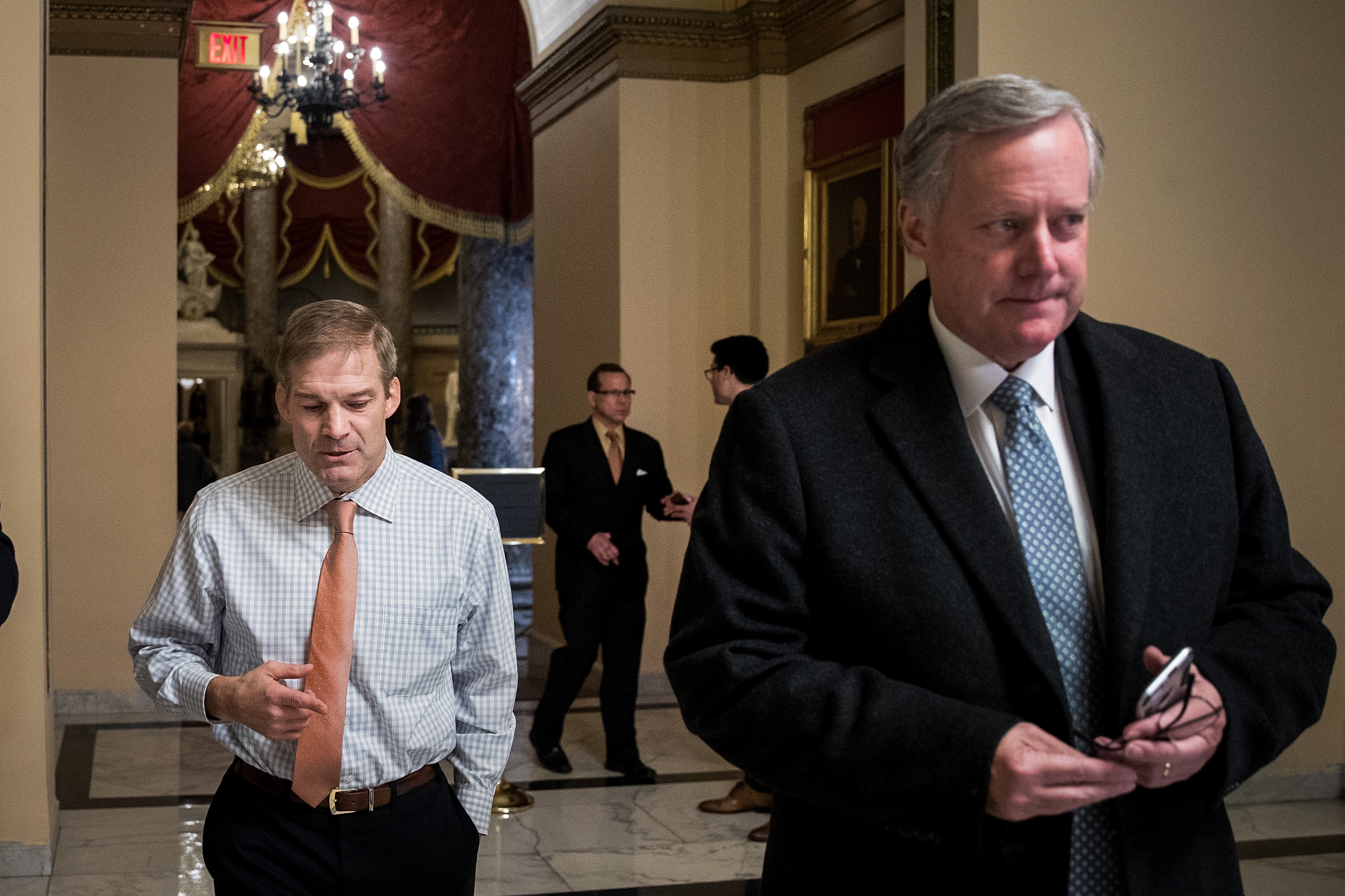Rep. Jim Jordan (R-OH) walks with Rep. Mark Meadows (R-NC) on Capitol Hill.