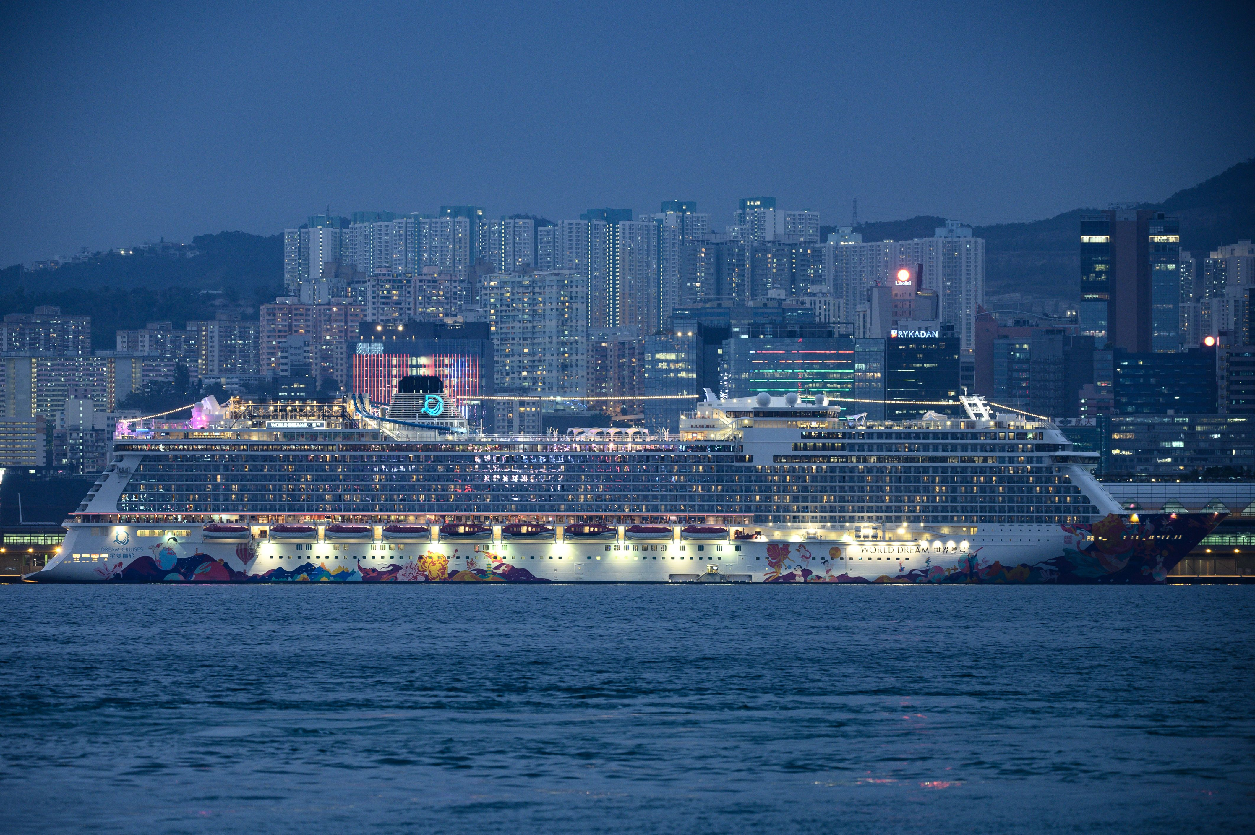 The World Dream is seen docked at Kai Tak Cruise Terminal in Hong Kong on Thursday.