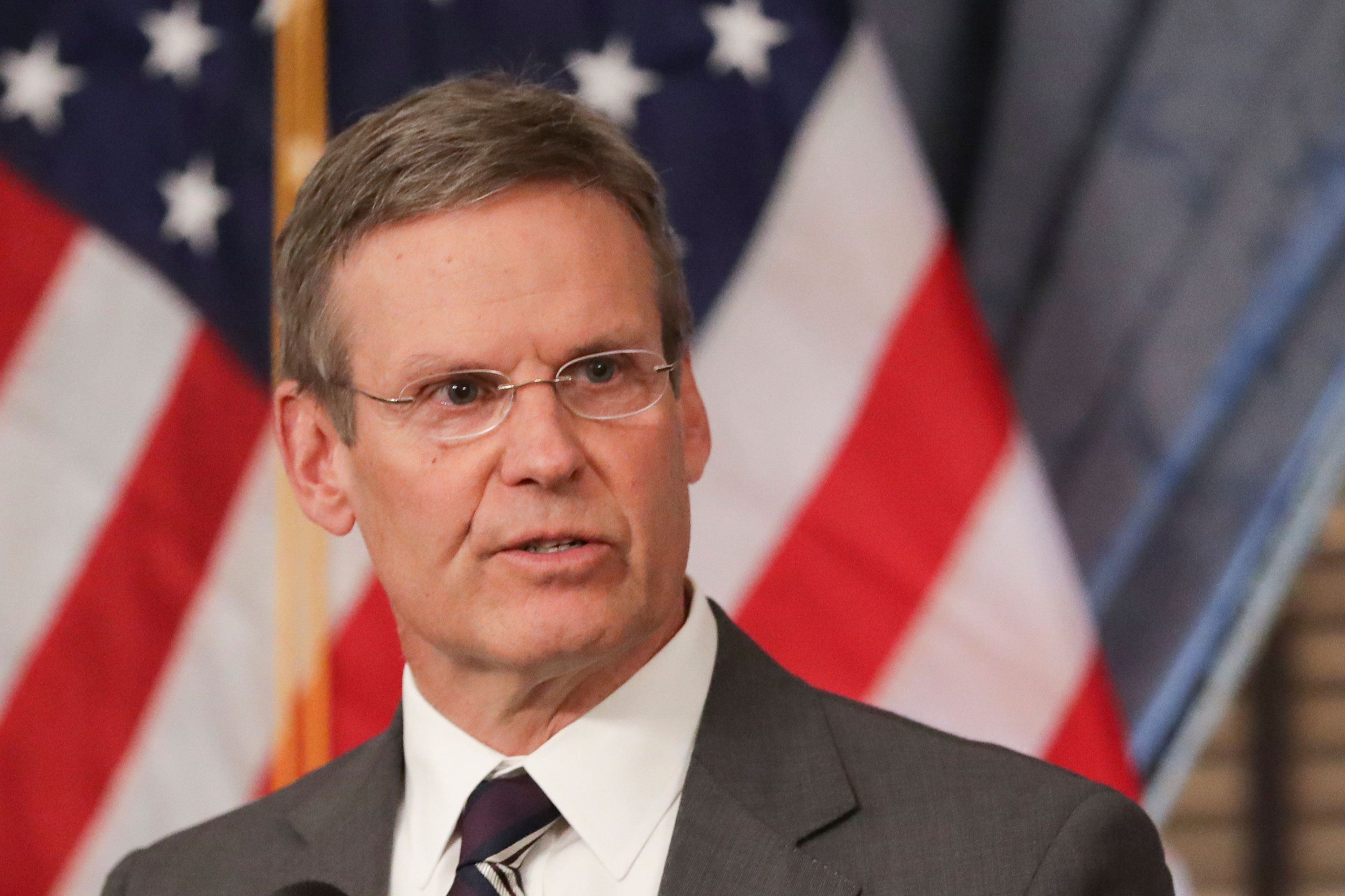 Tennessee Gov. Bill Lee answers questions concerning the state's response to the coronavirus during a news conference in Nashville, Tennessee on March 16.