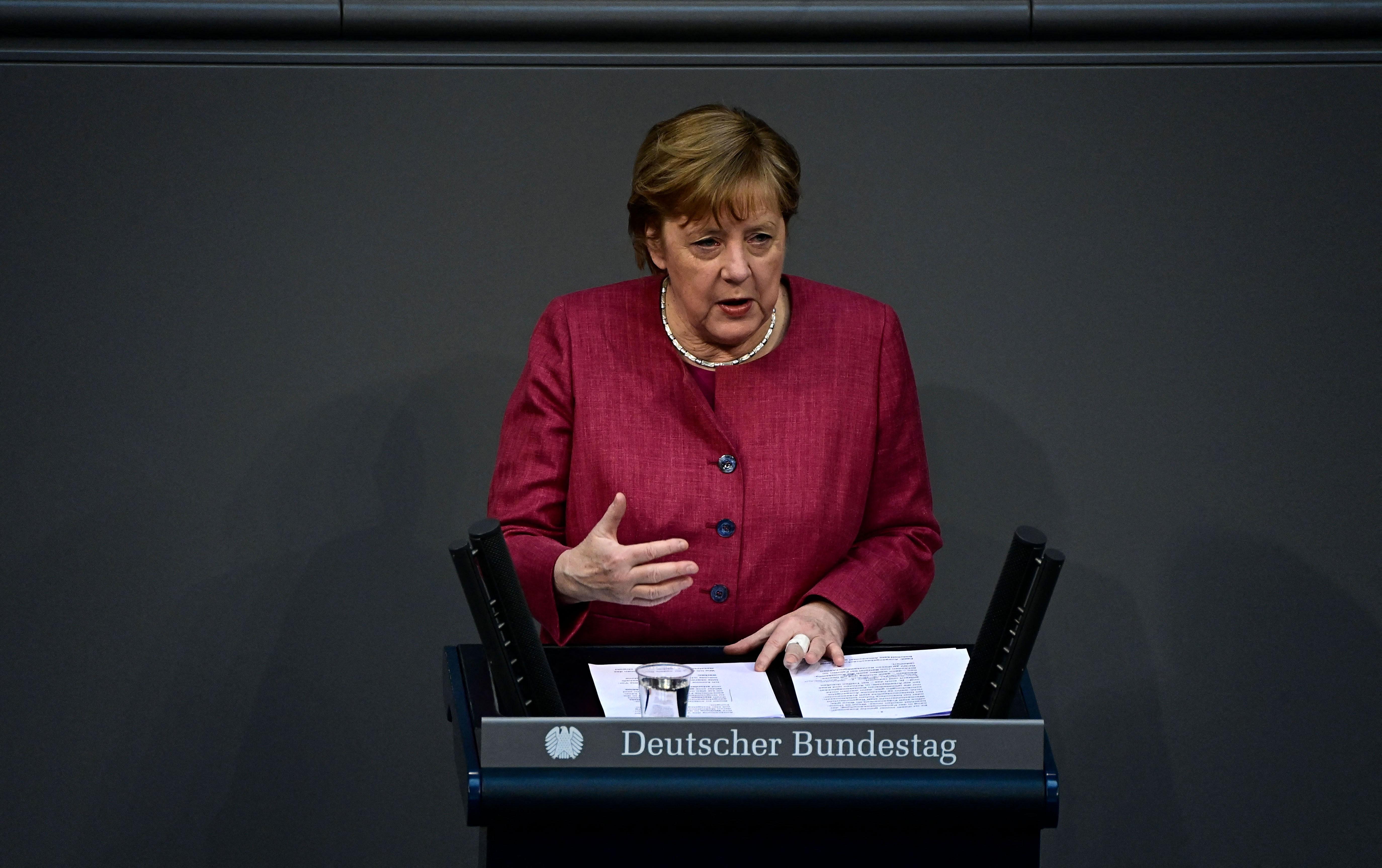 German Chancellor Angela Merkel speaks on April 16 in Berlin.