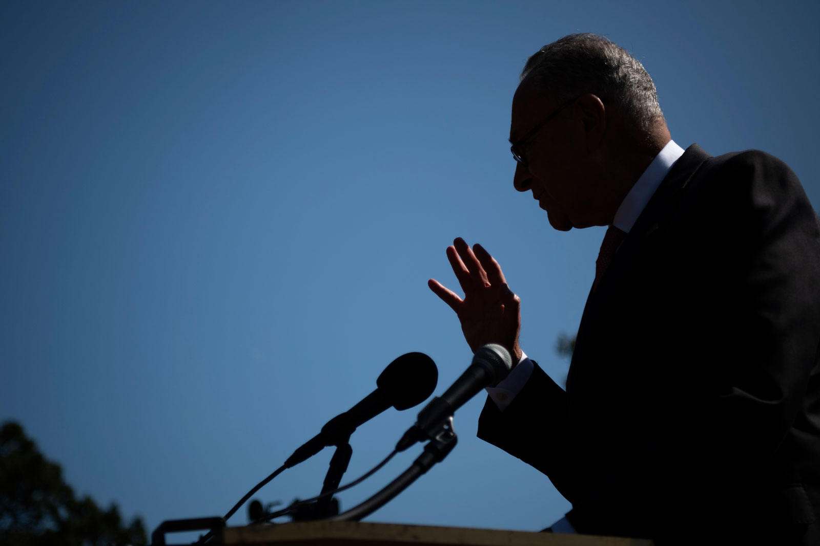 Senate Minority Leader Chuck Schumer speaks at a news conference on Capitol Hill in Washington on Tuesday, September 22.