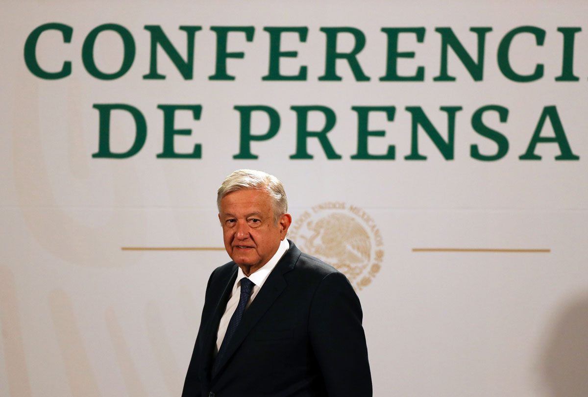 Mexican President Andres Manuel Lopez Obrador arrives to give his daily, morning news conference at the presidential palace in Mexico City on Tuesday, April 20.