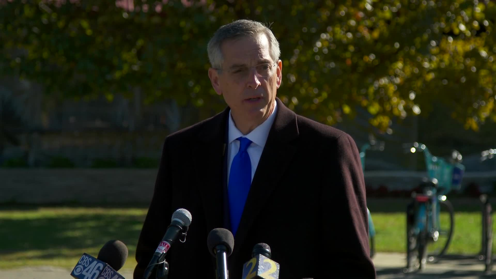 Georgia Secretary of State Brad Raffensperger speaks during a press conference in Atlanta on November 2.