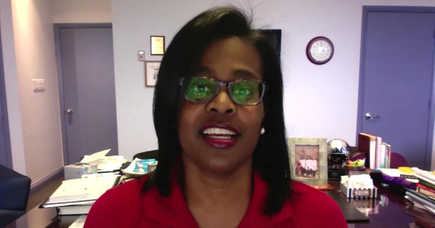Sonja Santelises, the CEO of Baltimore City Public Schools, speaks during CNN's Sesame Street town hall on Saturday.
