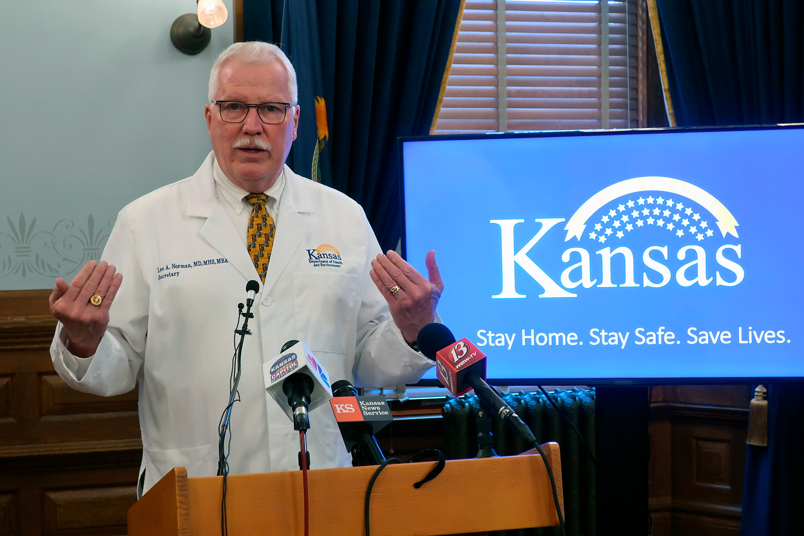 Dr. Lee Norman, head of the Kansas Department of Health and Environment, answers questions about the coronavirus pandemic during a news conference, on May 8, at the Statehouse in Topeka, Kansas.