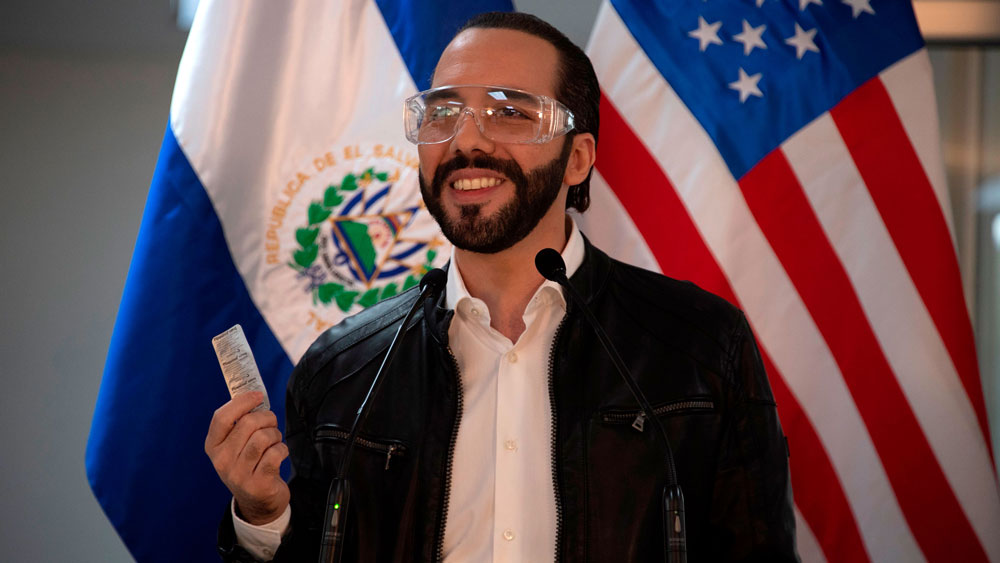 President Nayib Bukele speaks during a press conference at Rosales Hospital in San Salvador on May 26.