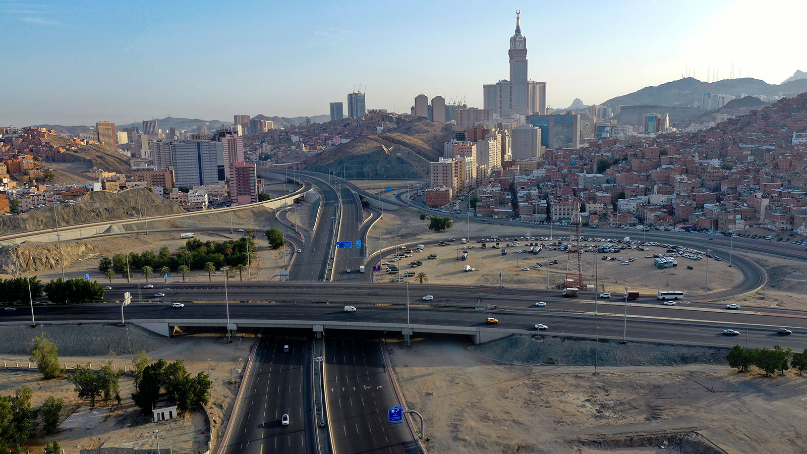 An aerial view of nearly deserted roads on April 8 in Mecca, Saudi Arabia.