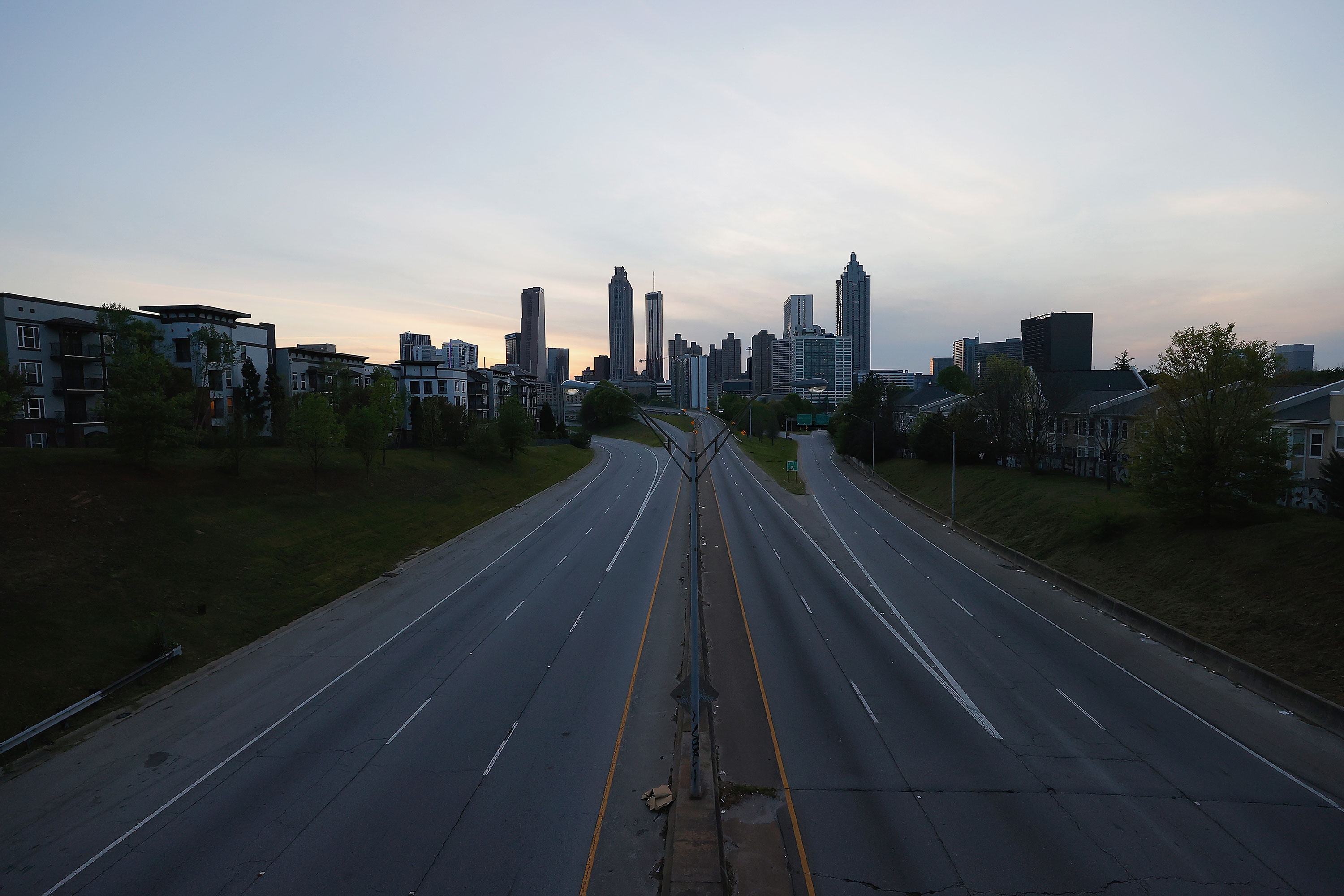 Empty streets are seen in downtown Atlanta on April 4.