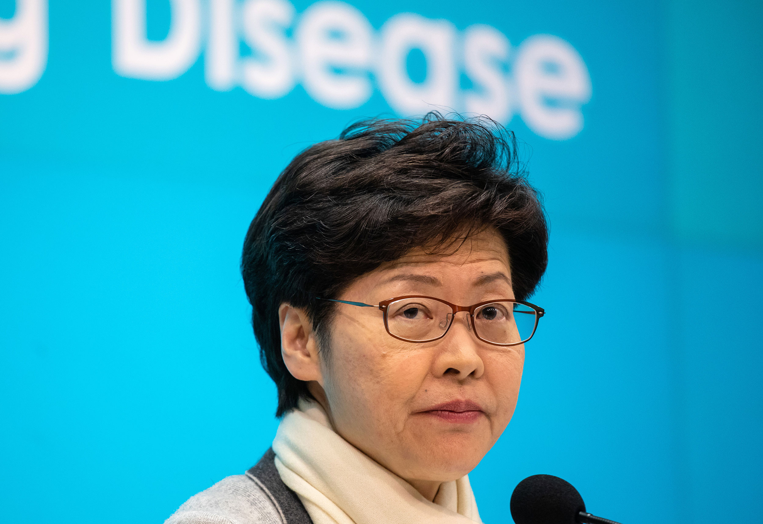 Carrie Lam, Hong Kong's chief executive, briefs the media on Saturday.