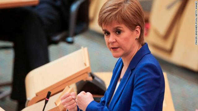 Nicola Sturgeon attends First Minister's Questions at Holyrood on May 13 in Edinburgh, Scotland.