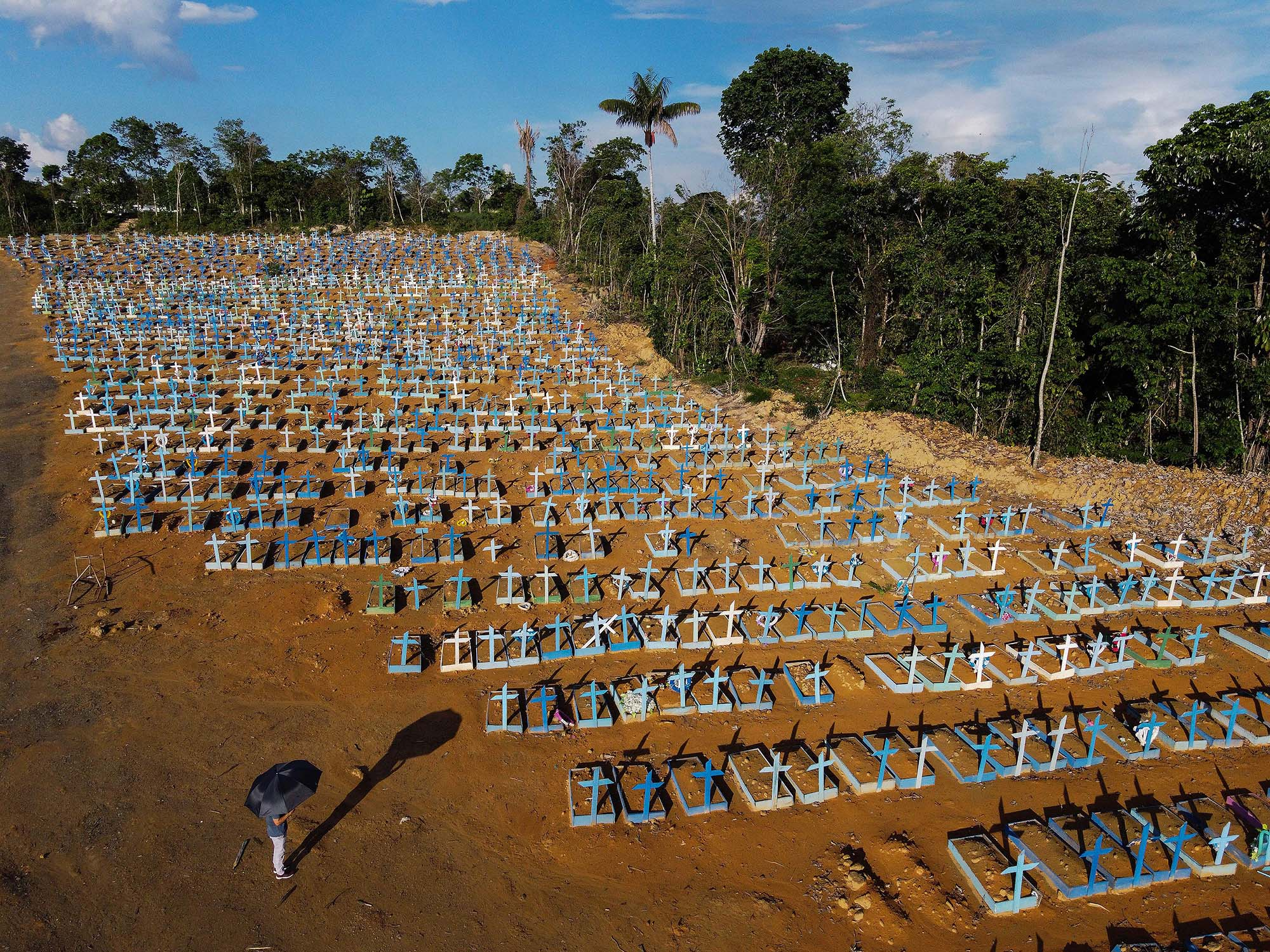 An aerial view of victims of the COVID pandemic buried at the Nossa Senhora Aparecida cemetery in Manaus, Brazil, on November 21.