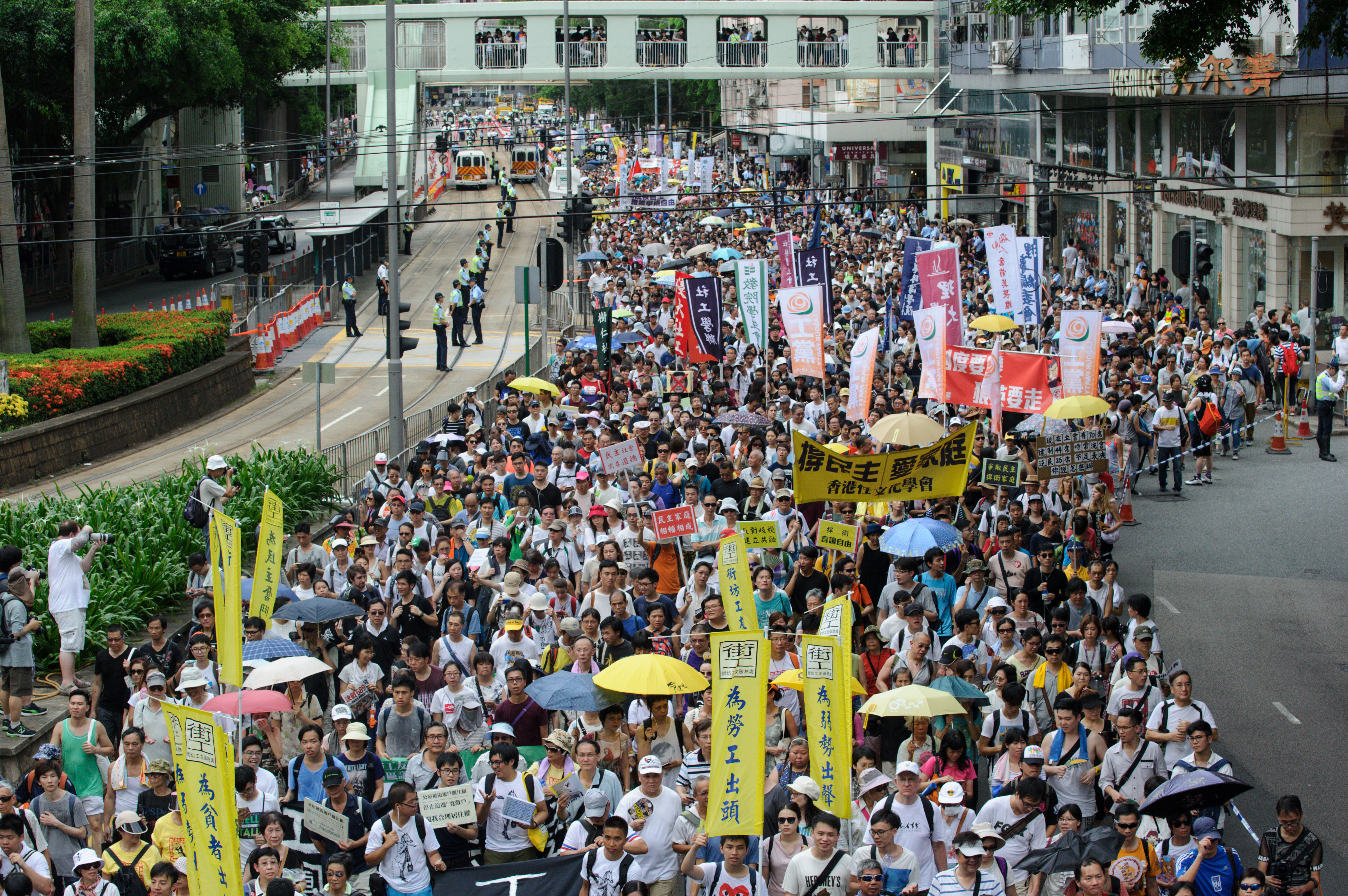 Protesters at a pro-democracy rally in Hong Kong on July 1, 2016.
