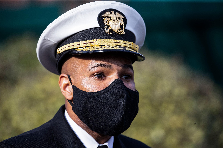 Surgeon General Jerome Adams speaks to the media on December 21.