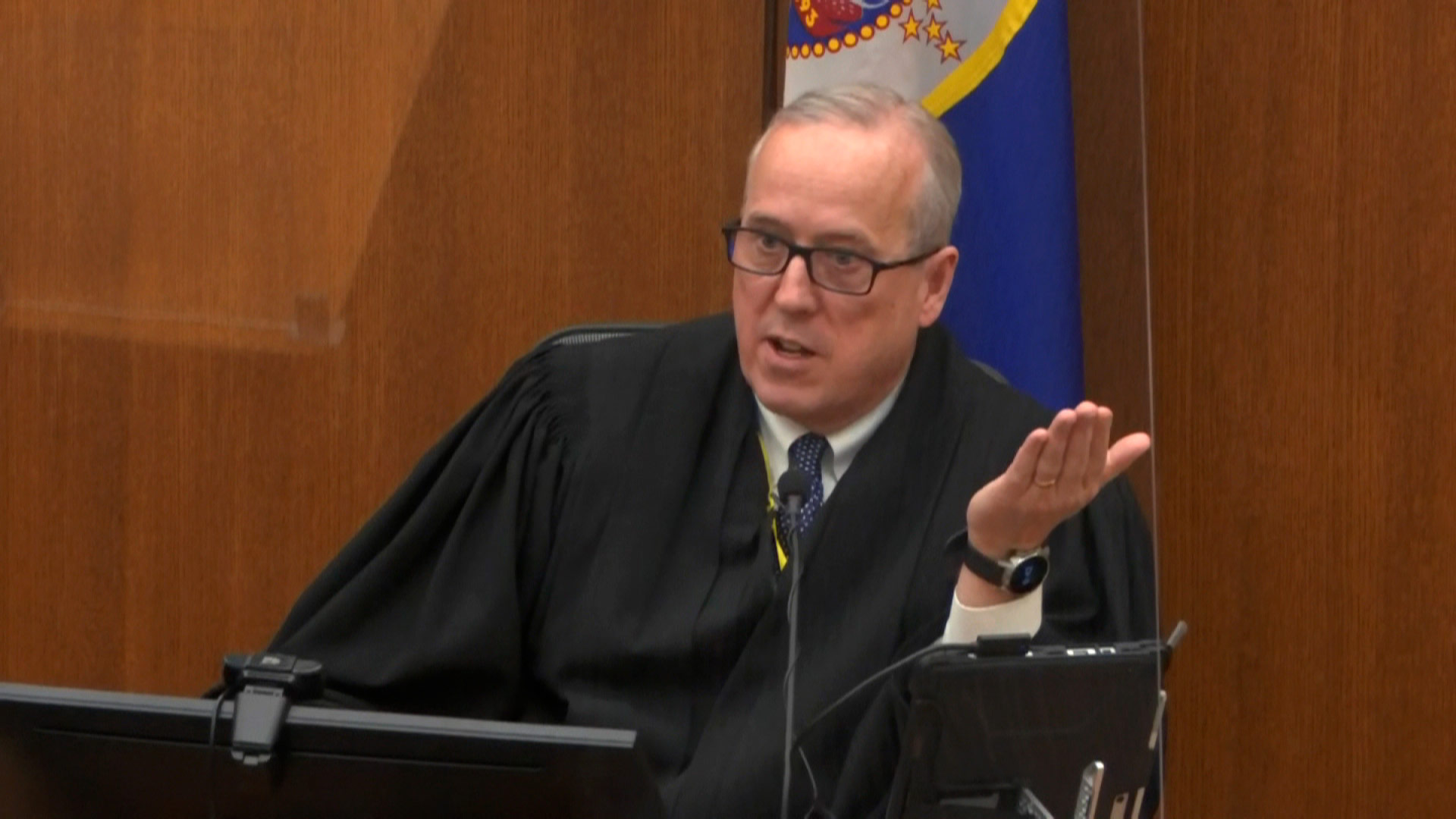 Judge Peter Cahill speaks during court proceedings on Monday, April 12.