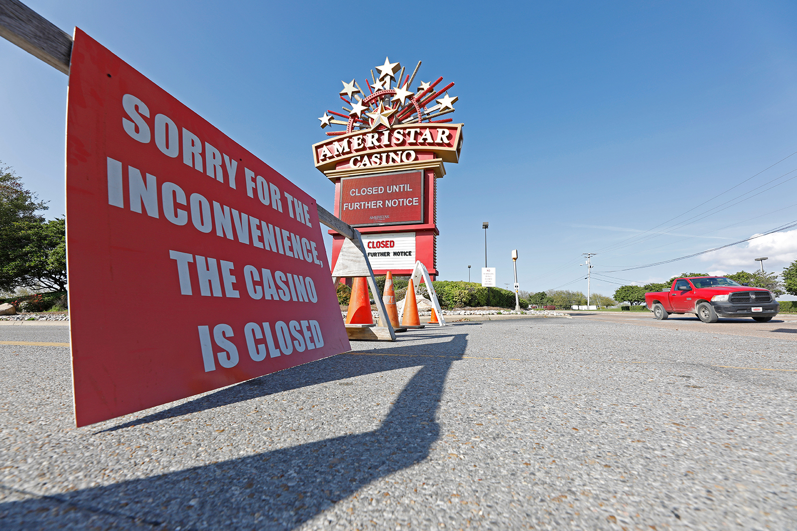 A sign announcing closures is seen outside the closed Ameristar Casino in Vicksburg, Mississippi, on Tuesday, March 17.