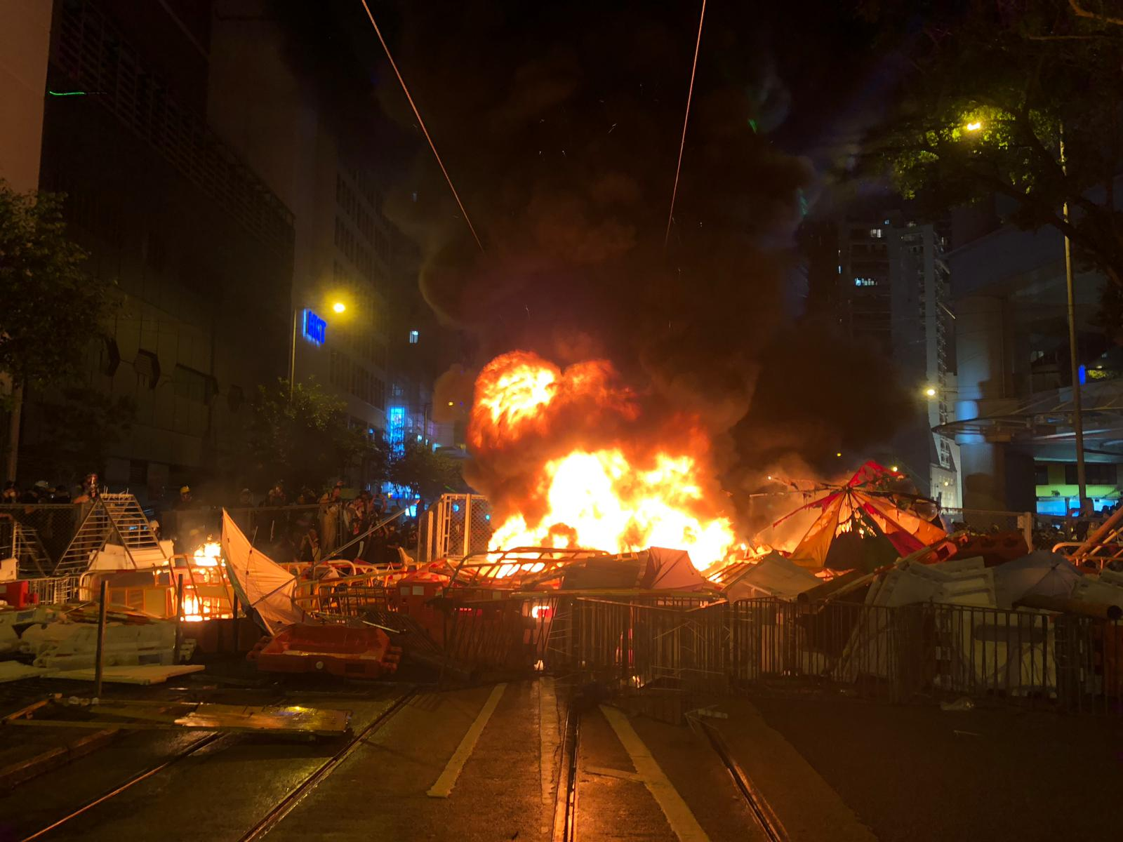 Protesters Set Fire To Barricades