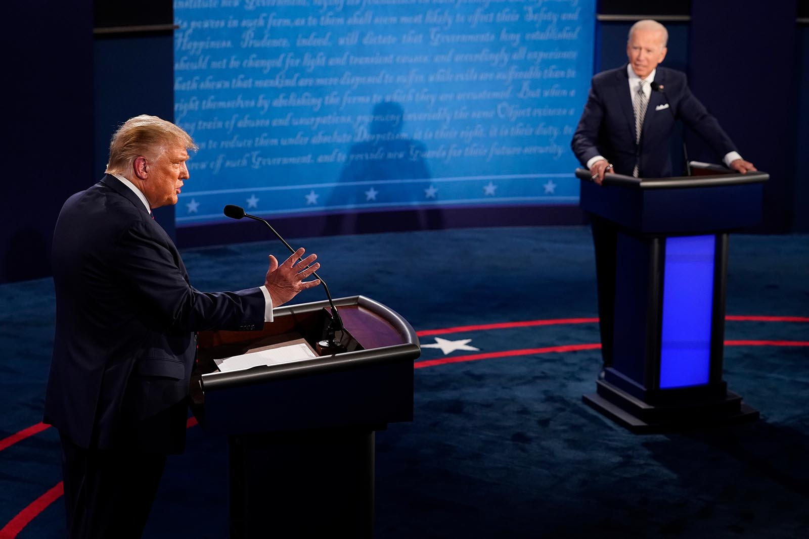 President Donald Trump speaks during the first presidential debate against former Vice President and Democratic presidential nominee Joe Biden.