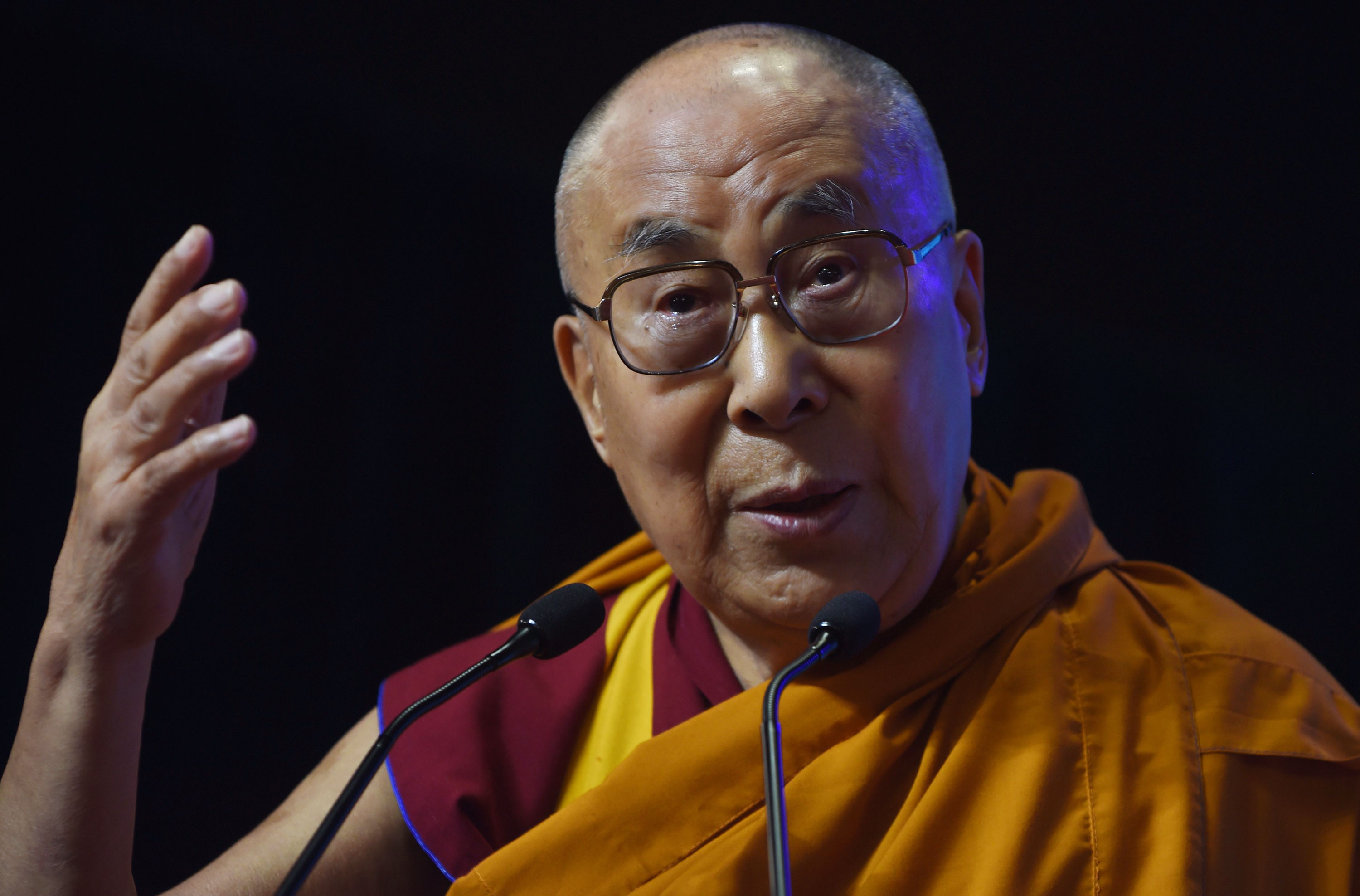 The Dalai Lama speaks during an inter-faith religious conclave in Mumbai, India, on August 13, 2017.