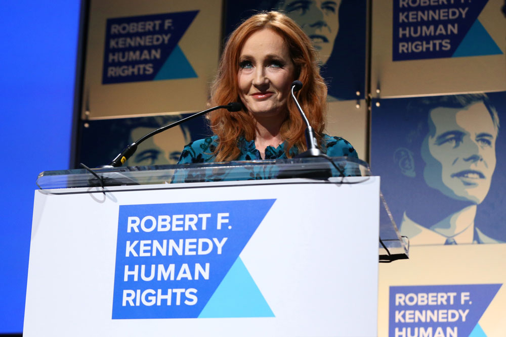 J.K. Rowling accepts an award onstage during the Robert F. Kennedy Human Rights Hosts 2019 Ripple Of Hope Gala & Auction In NYC on December 12, 2019.
