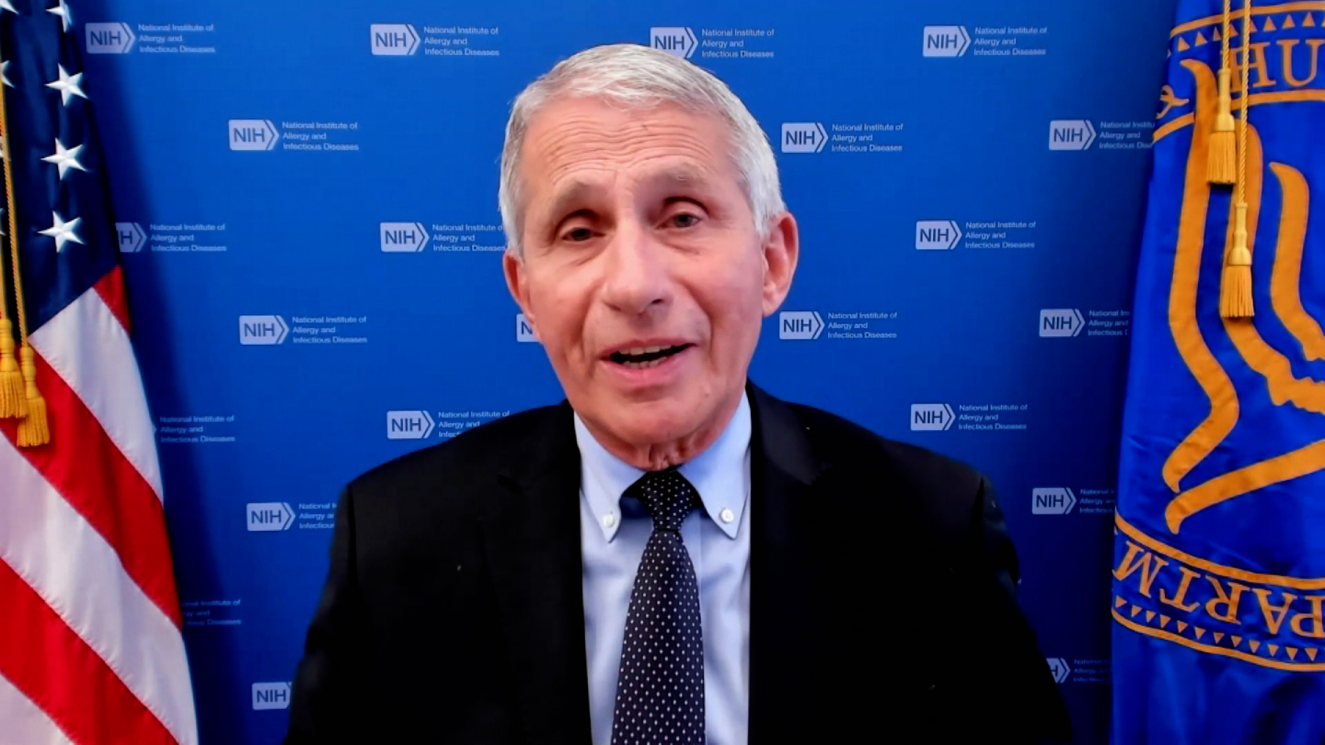 Dr. Anthony Fauci, director of the U.S. National Institute of Allergy and Infectious Diseases and the chief medical adviser to President Biden, speaks during an interview on June 9.