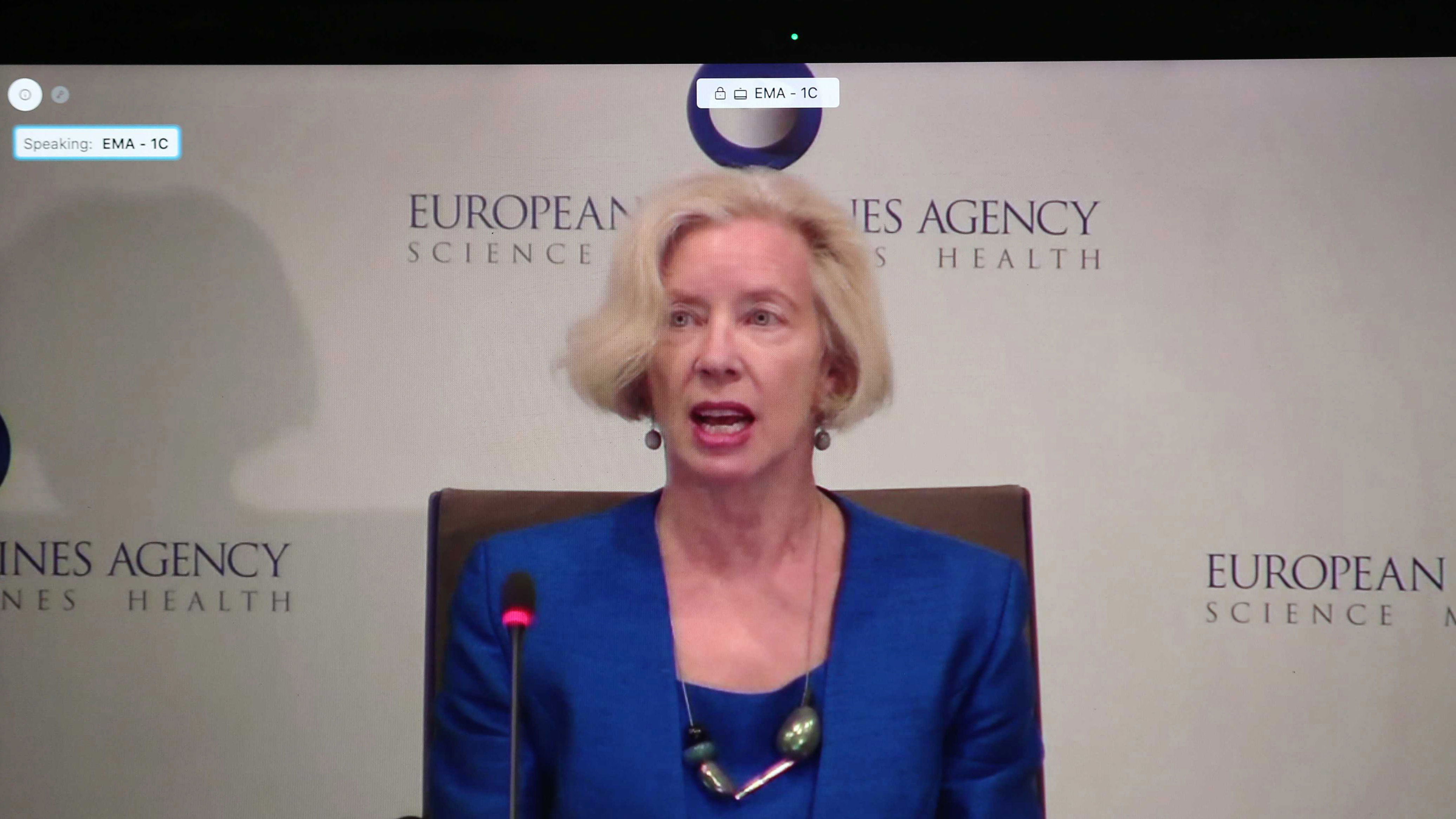 A photo taken of a laptop screen shows Emer Cooke, executive director of the European Medicines Agency, explaining the approval of the Pfizer/BioNTech Covid-19 vaccine during an online press conference in Amsterdam, Netherlands, on December 21, 2020.