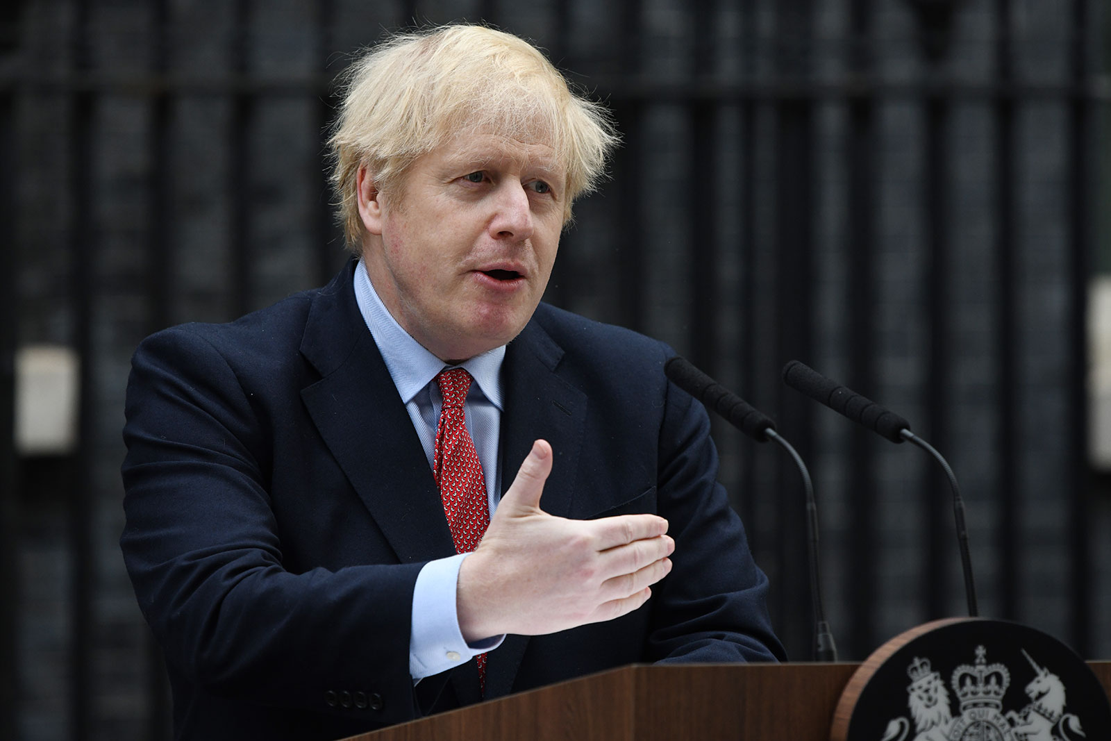 UK Prime Minister Boris Johnson speaks in Downing Street as he returns to work following his recovery from Covid-19 in London on April 27.