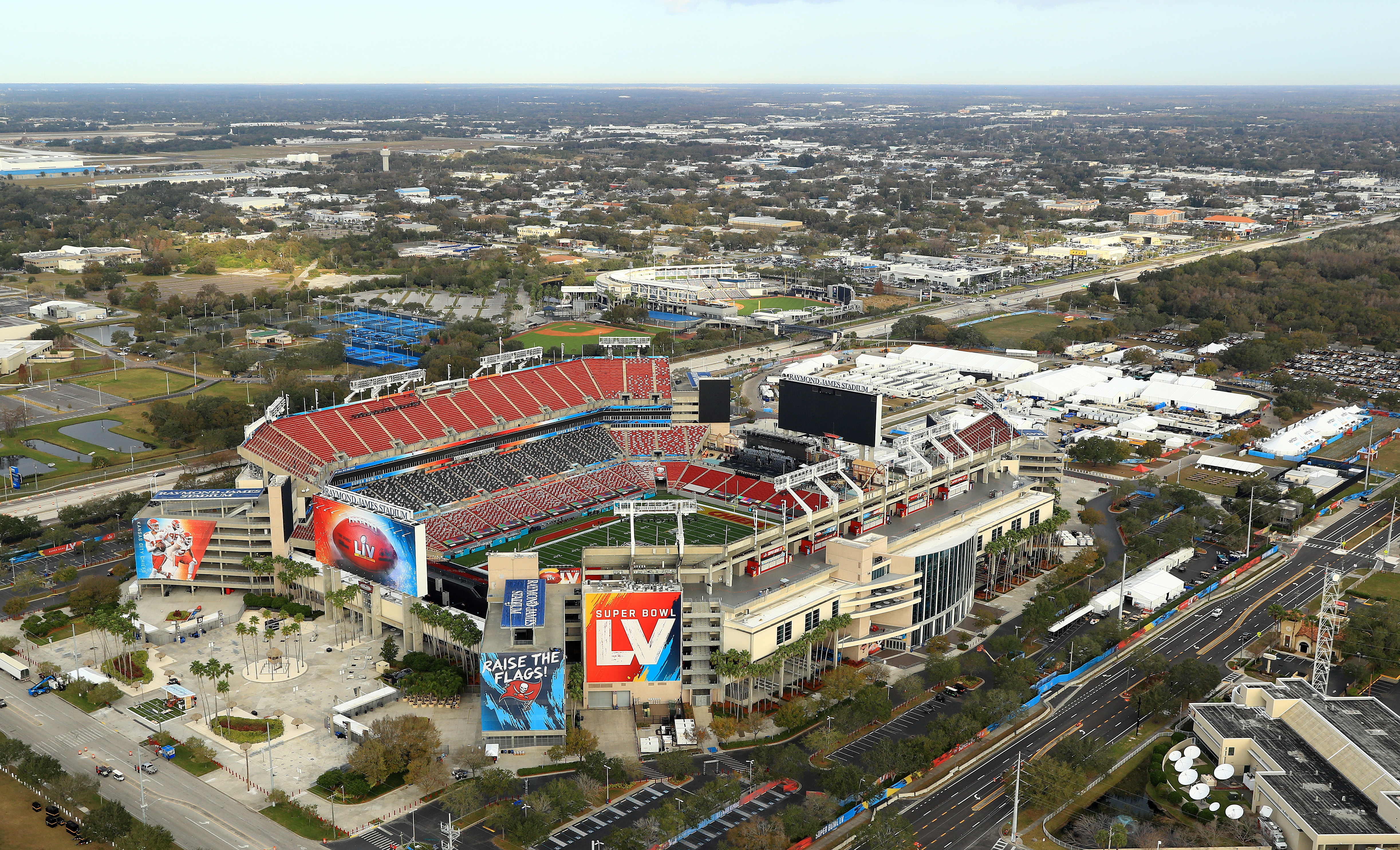 An aerial view of Raymond James Stadium is seen ahead of Super Bowl LV in Tampa, Florida, on January 31.