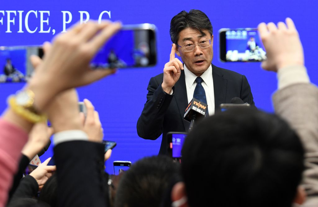 Gao Fu speaks during a State Council Information Office press conference in Beijing.