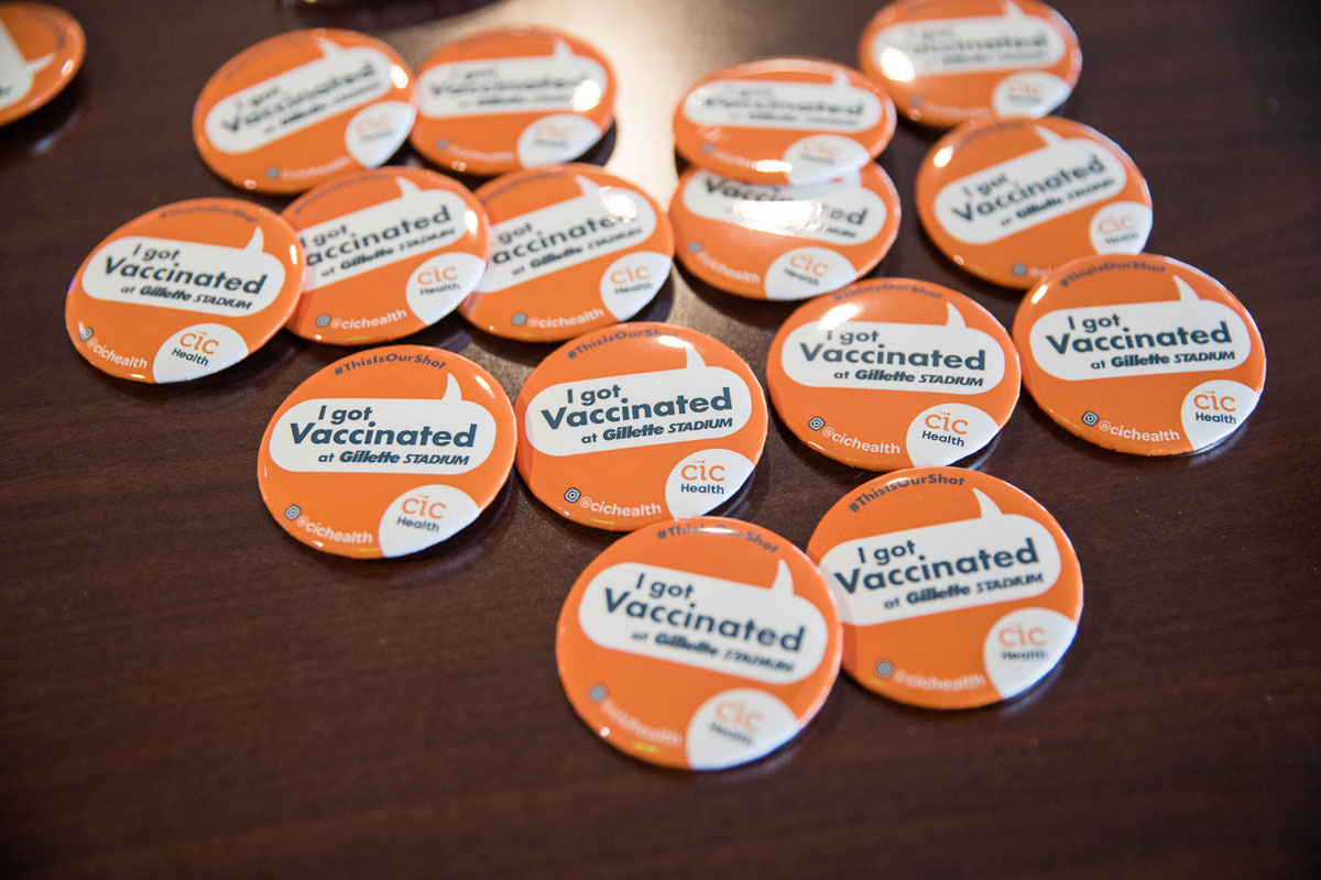 Pins for people who have been vaccinated at Gillette Stadium's vaccination site on January 15 in Foxborough, Massachusetts.