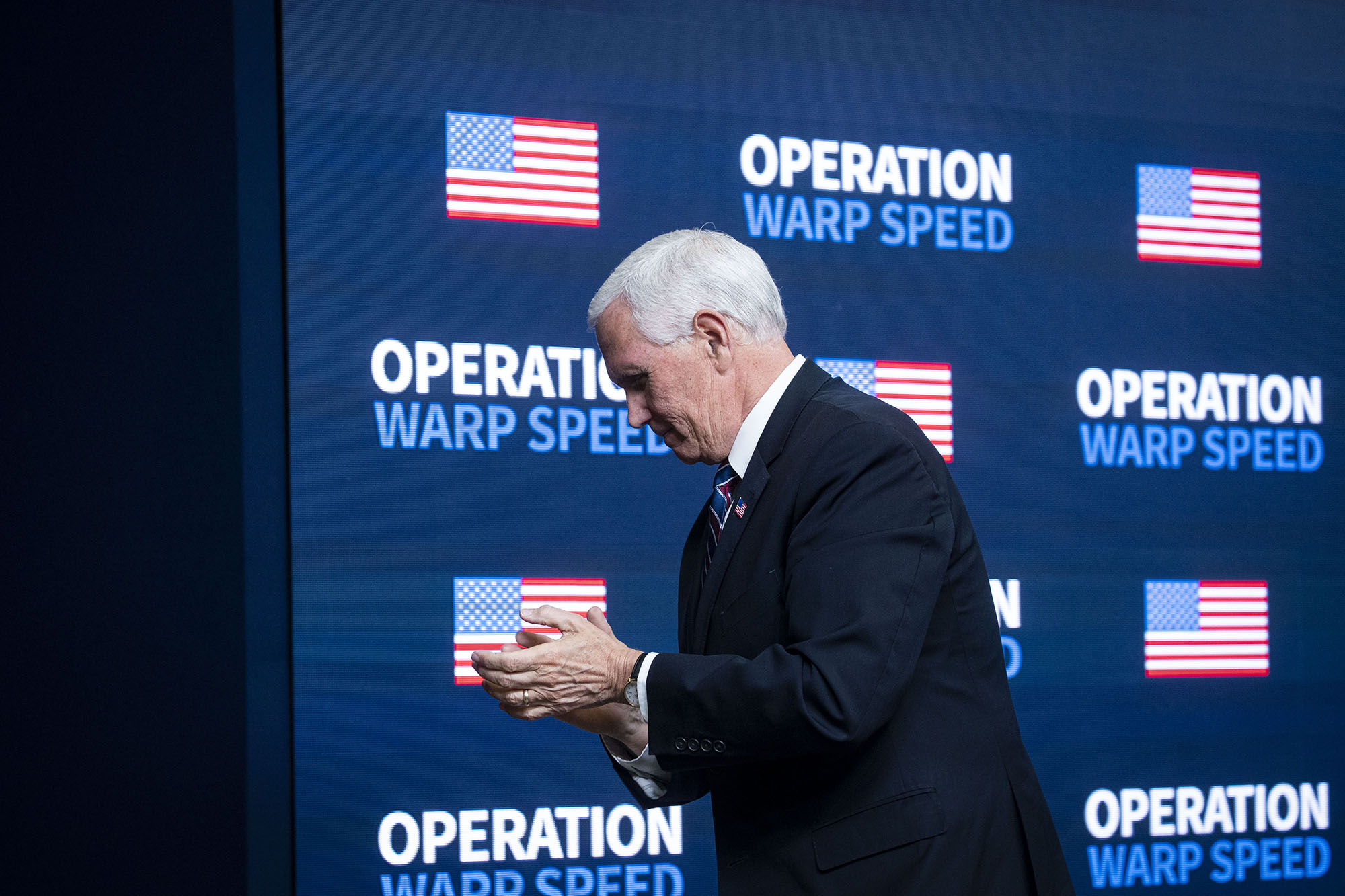 U.S. Vice President Mike Pence departs from an Operation Warp Speed vaccine summit at the White House in Washington DC, on Tuesday, December 8.