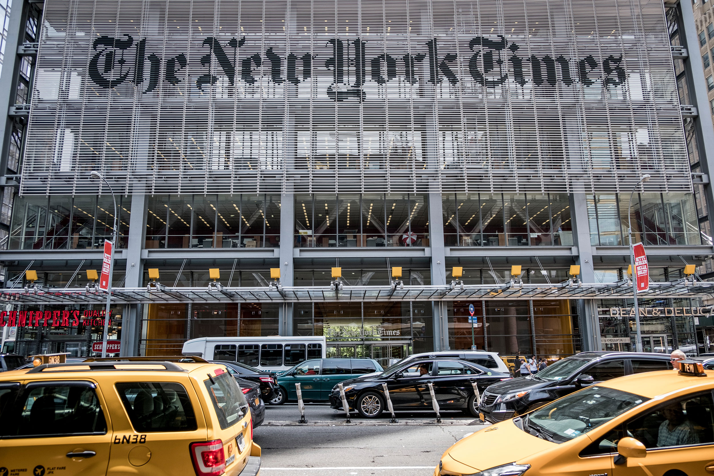 The exterior of The New York Times building in 2017.