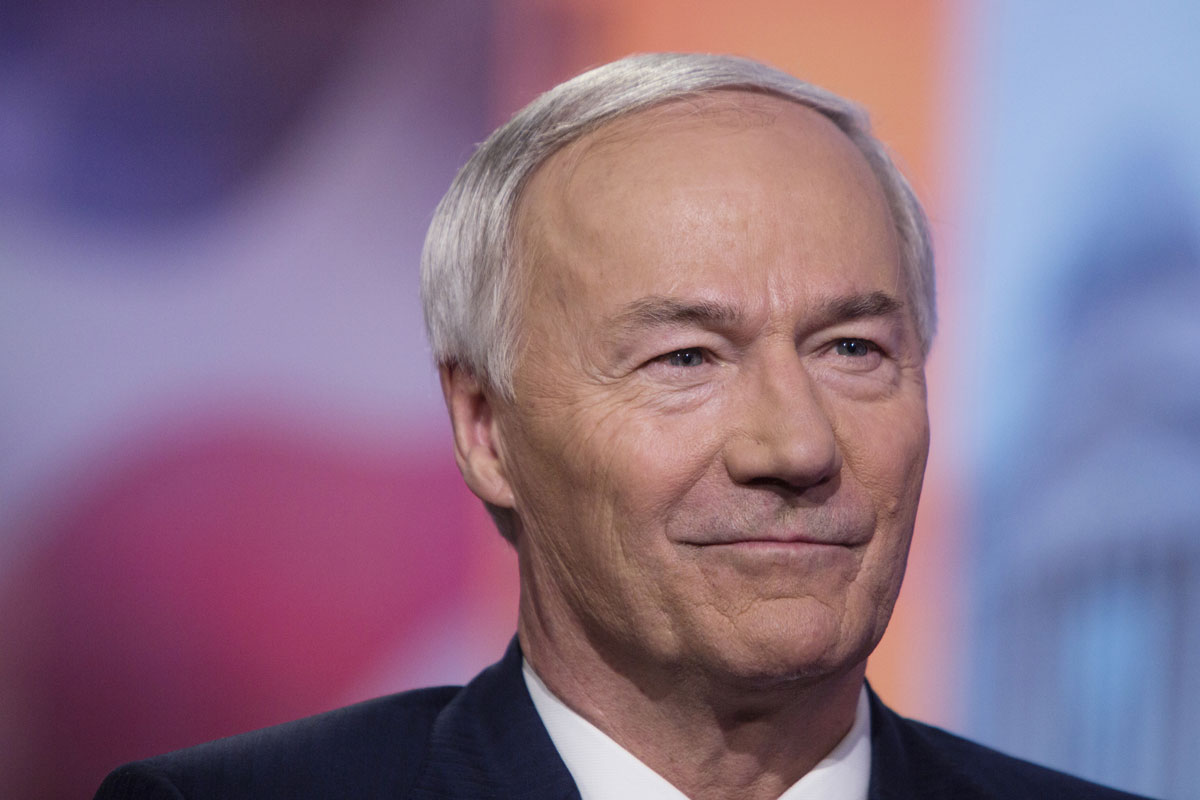 Governor Asa Hutchinson listens during a Bloomberg Television interview in New York on May 28, 2019.